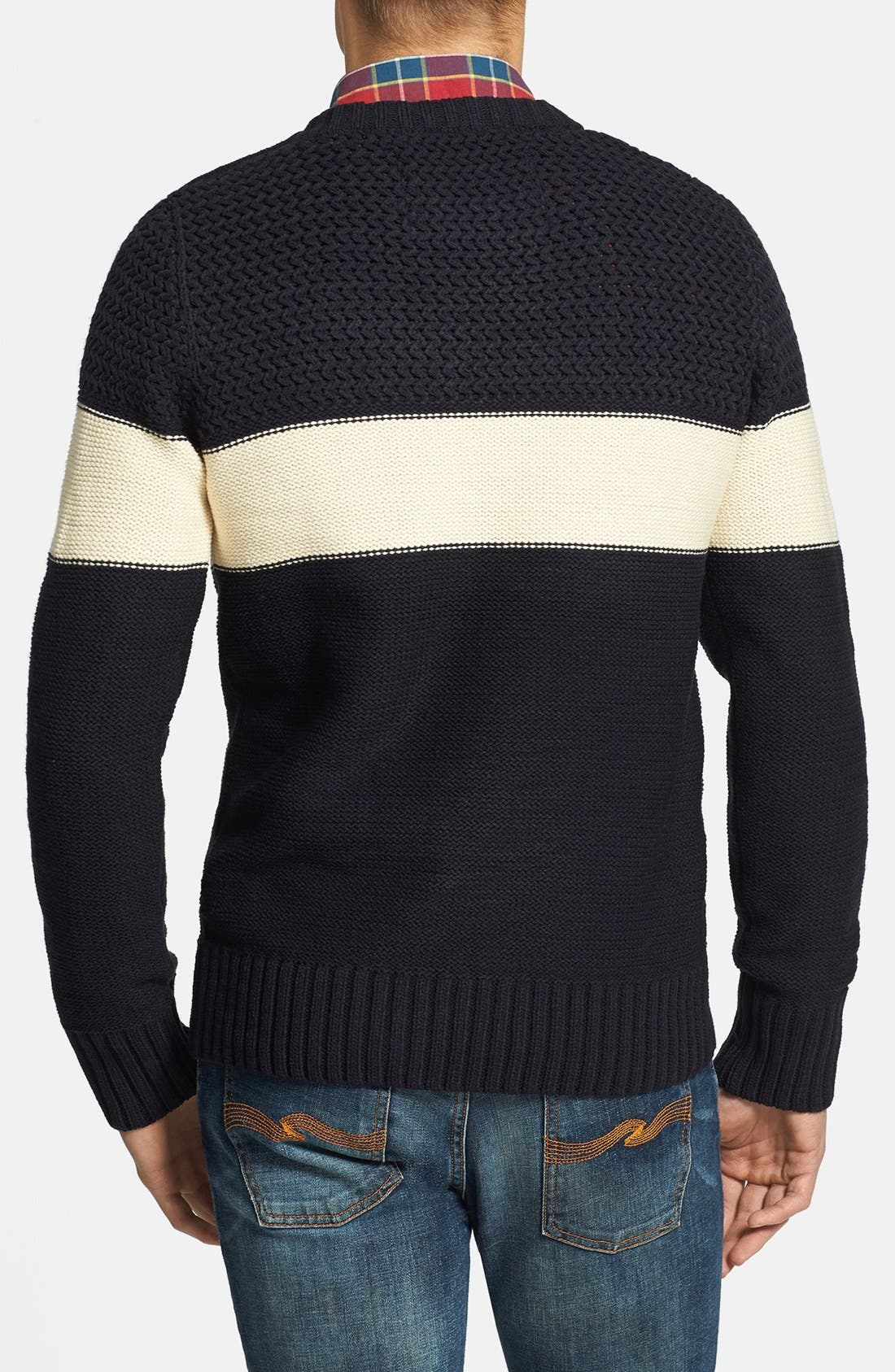 Alternate Image 2  - Scotch & Soda Cable Knit Stripe Crewneck Sweater