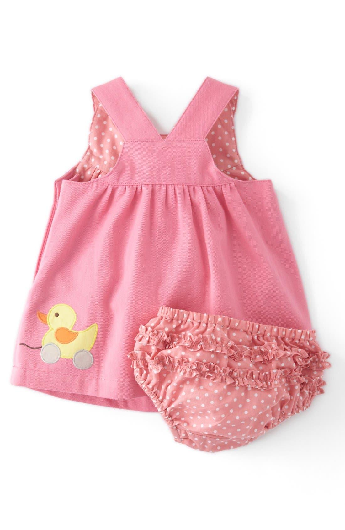 Alternate Image 2  - Mini Boden Appliqué Button Strap Dress (Baby Girls)