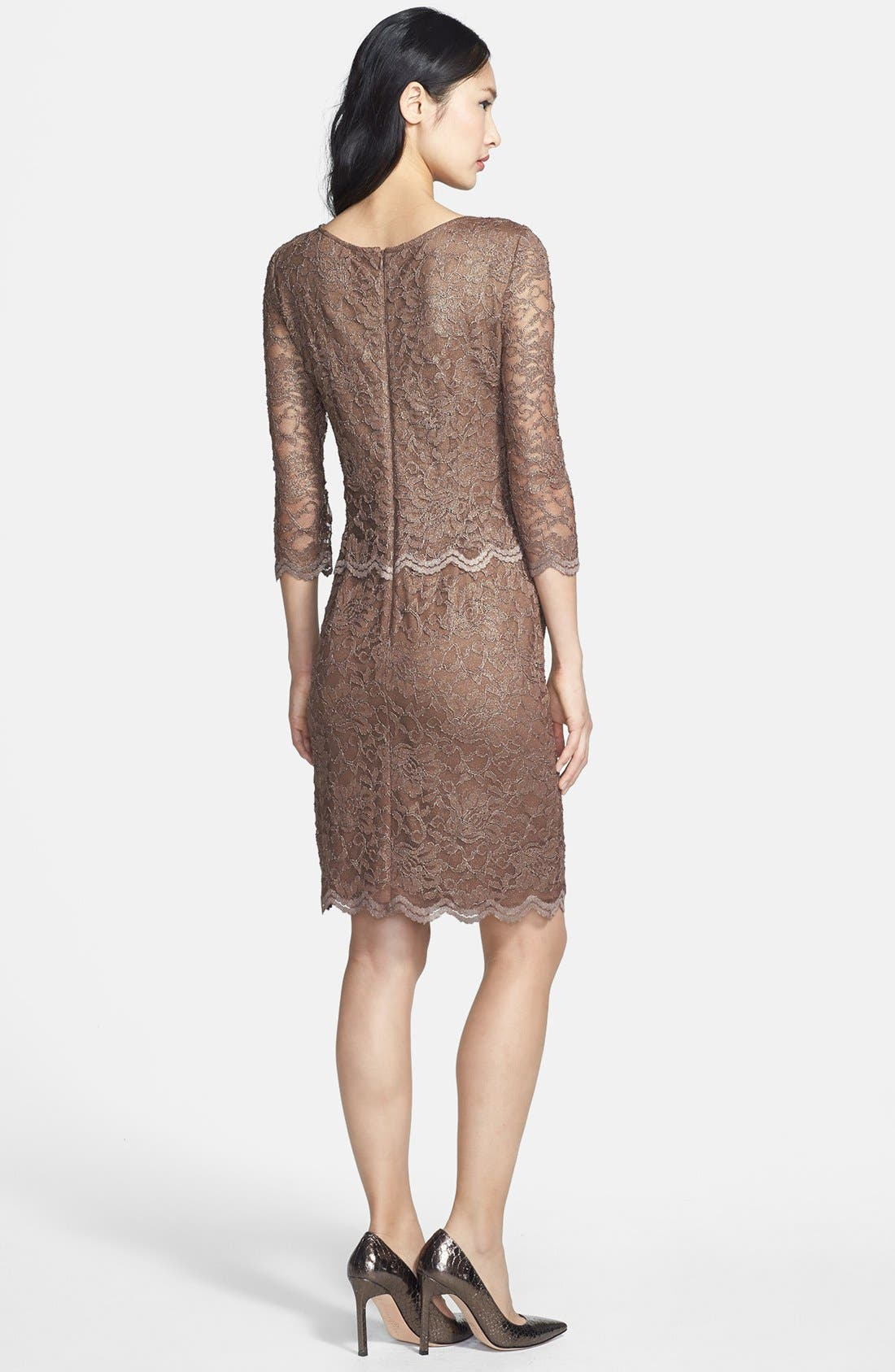 Alternate Image 2  - Alex Evenings Mock Two-Piece Lace Sheath Dress