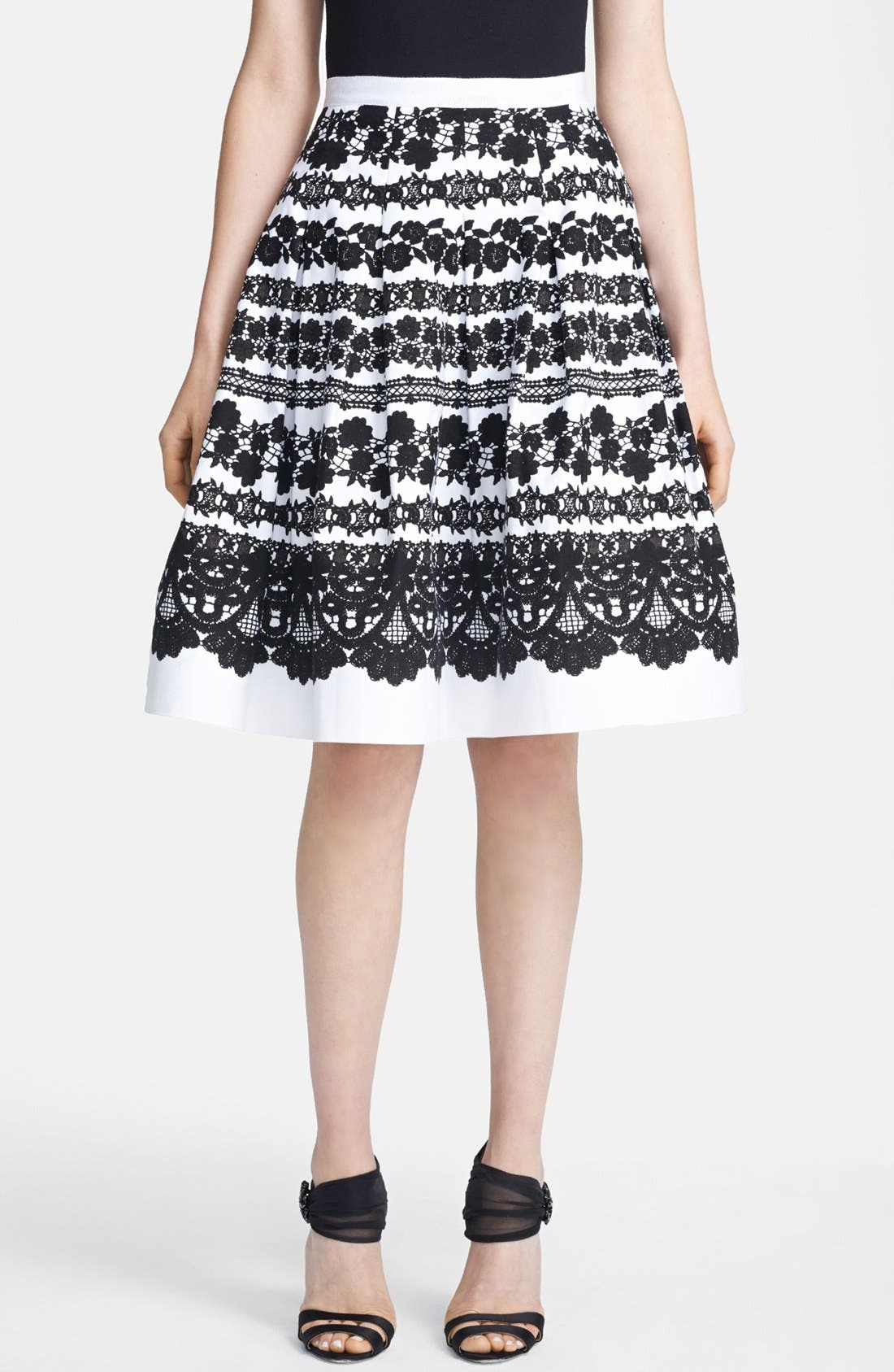Main Image - Oscar de la Renta Lace Print Full Skirt
