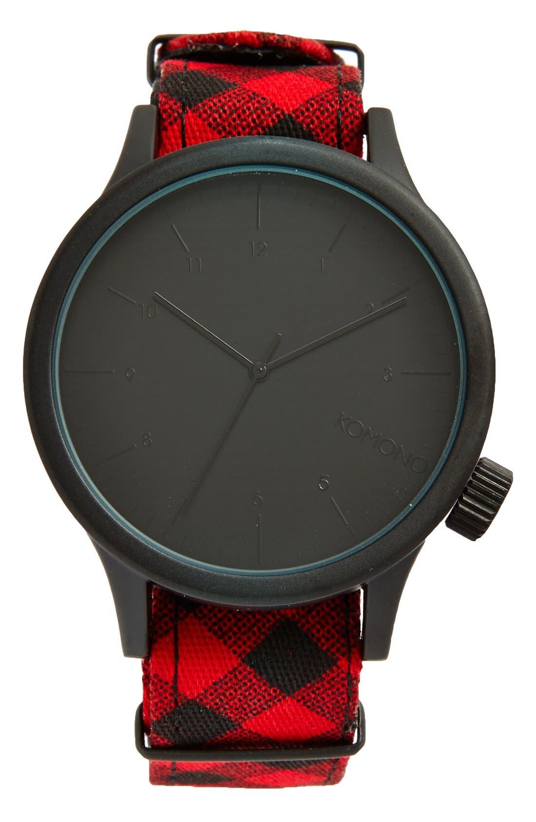 Alternate Image 1 Selected - Komono 'Magnus - Woodsman' Round Dial Strap Watch, 46mm
