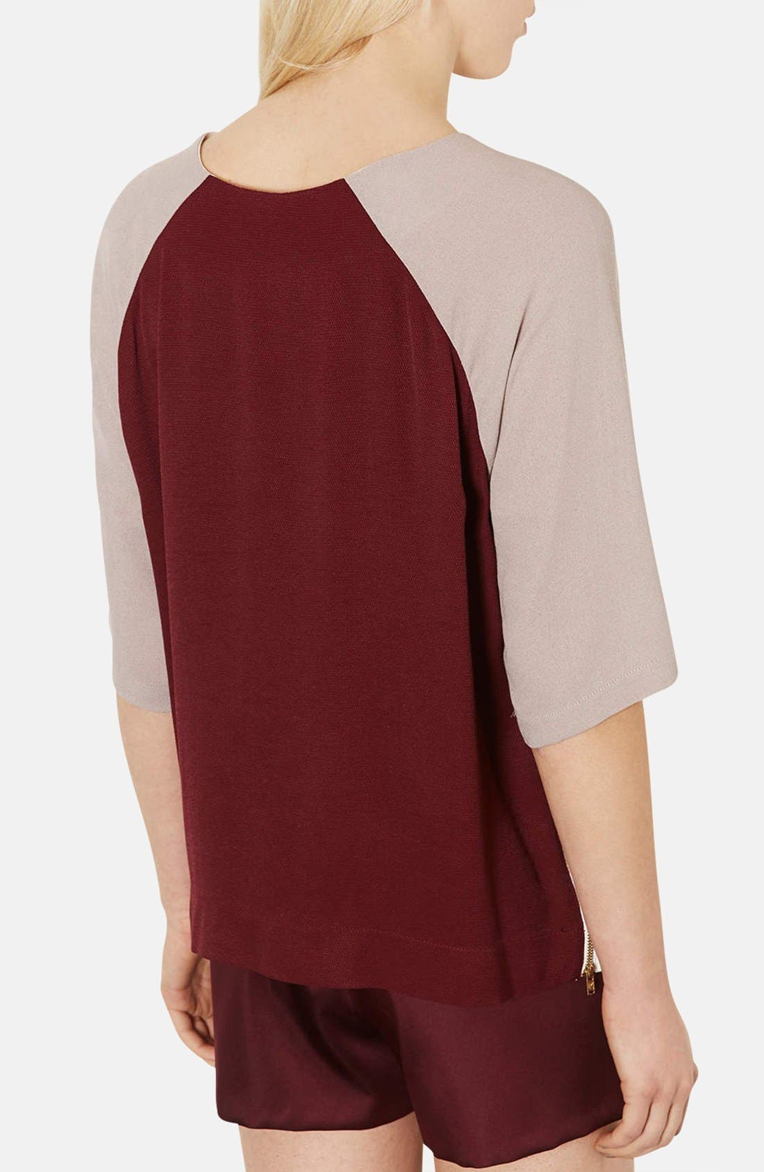 Alternate Image 2  - Topshop Colorblock Crepe Tunic