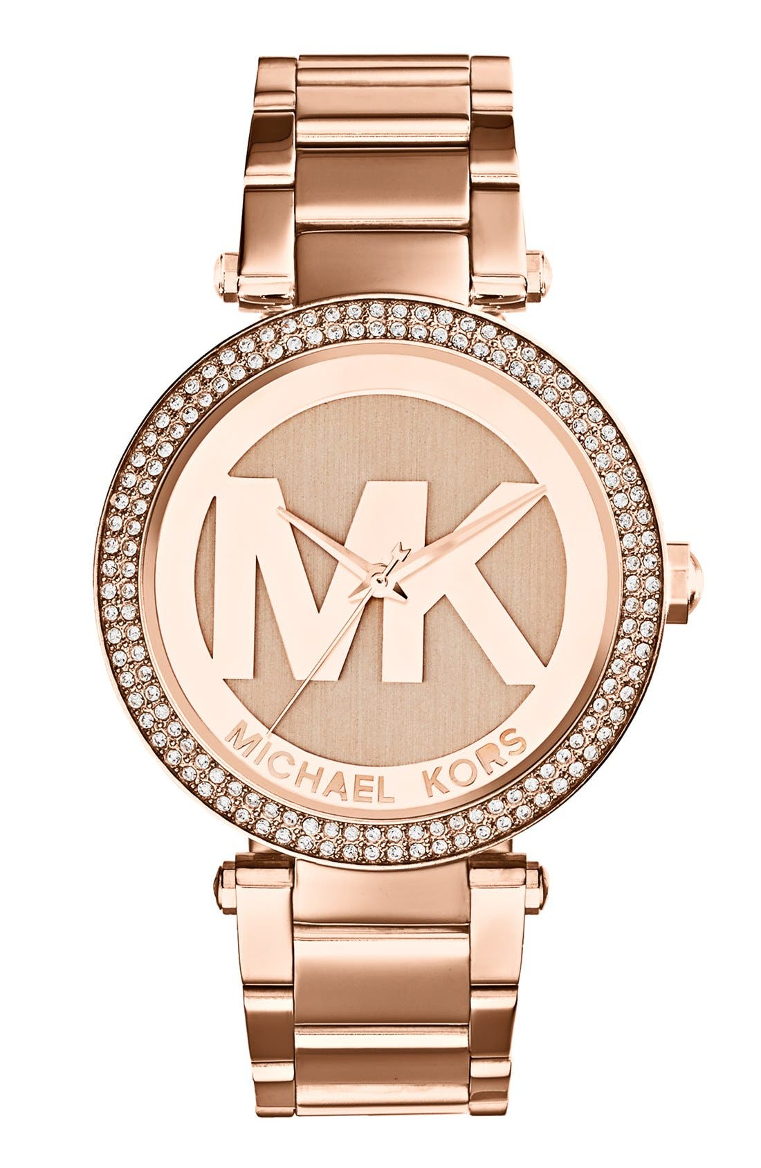 Alternate Image 1 Selected - Michael Kors Parker Logo Dial Bracelet Watch, 39mm