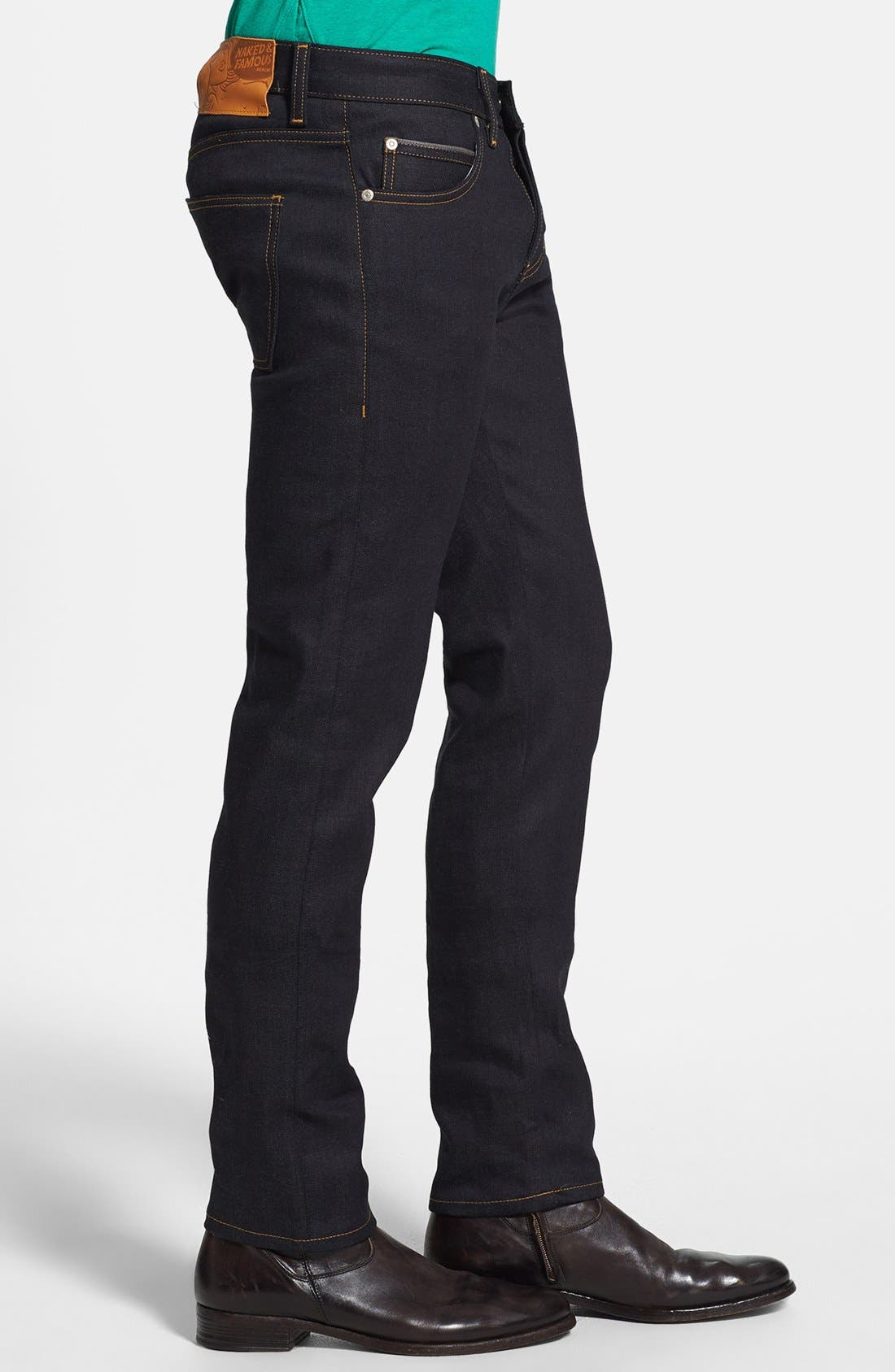 'Super Skinny Guy' Skinny Fit Selvedge Jeans,                             Alternate thumbnail 3, color,                             Deep Indigo Selvedge-Stretch