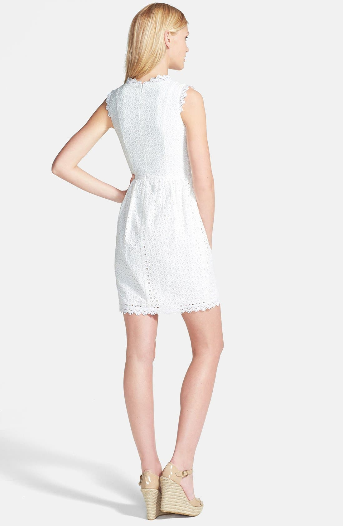 Alternate Image 2  - MM Couture Eyelet Cotton Fit & Flare Dress