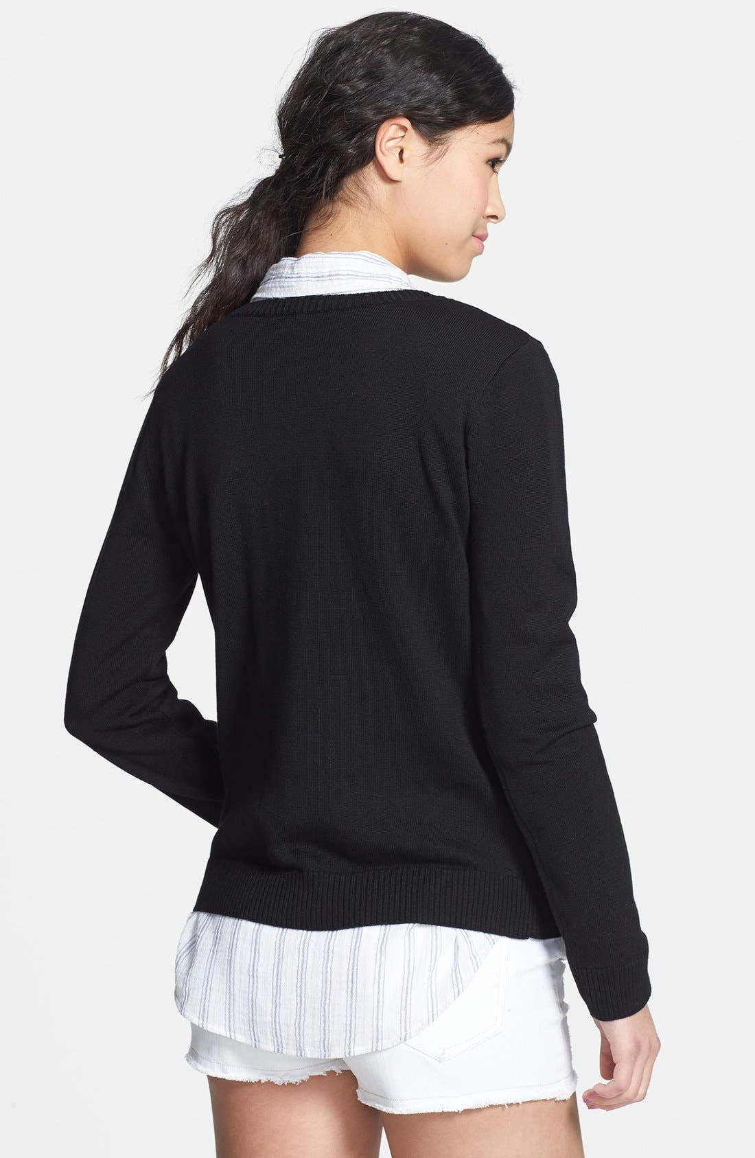 Alternate Image 2  - Love By Design Textured French Knit Sweater (Juniors)