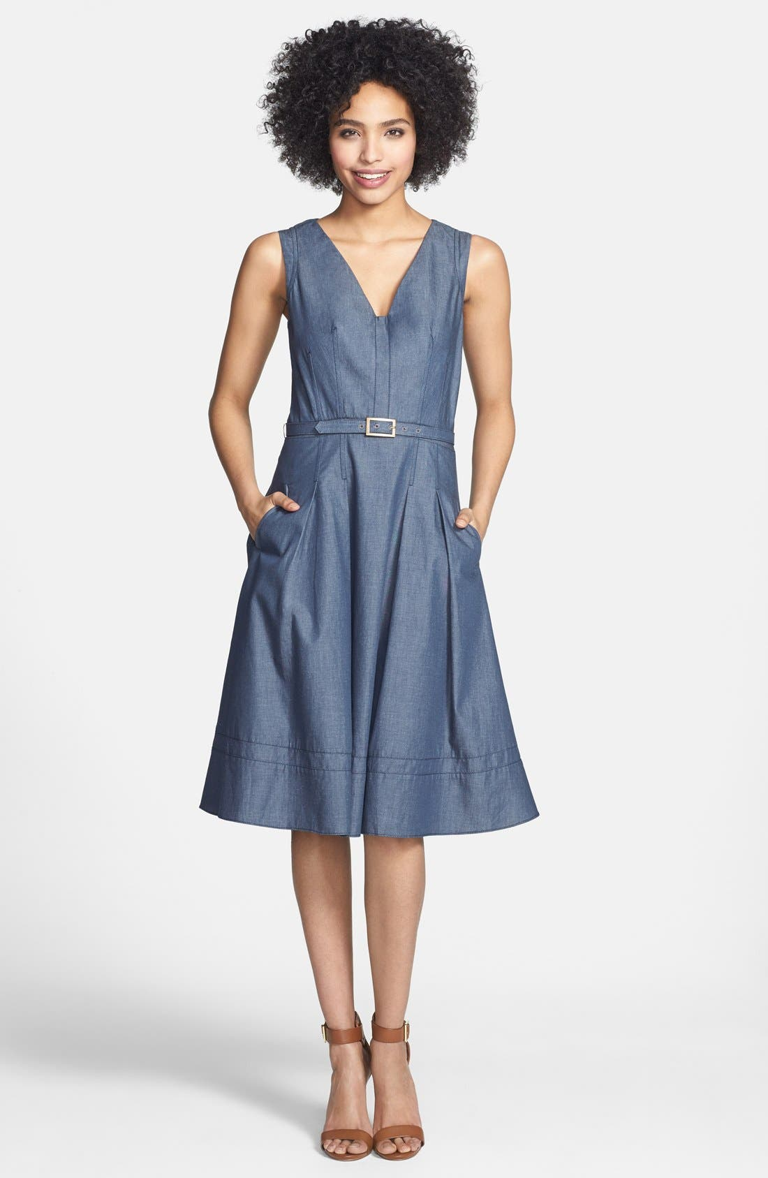 Alternate Image 1 Selected - Adrianna Papell Belted V-Neck Cotton Fit & Flare Dress
