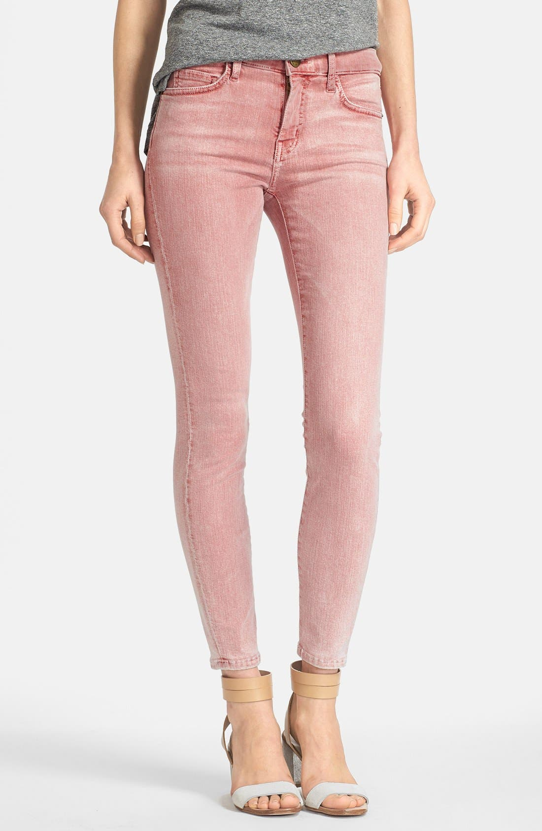 Alternate Image 1 Selected - Current/Elliott 'The Stiletto' Overdyed Stretch Jeans (Bleach Out Scarlet)