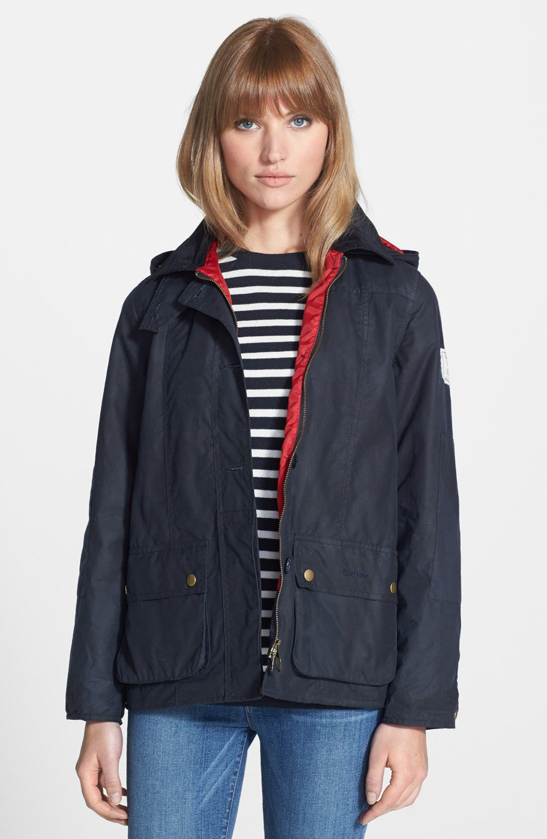 Alternate Image 1 Selected - Barbour 'Shore' Hooded Waxed Cotton Marine Jacket