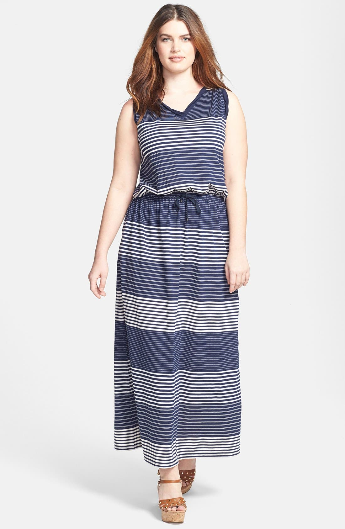 Main Image - Two by Vince Camuto Engineered Stripe Sleeveless Maxi Dress (Plus Size)