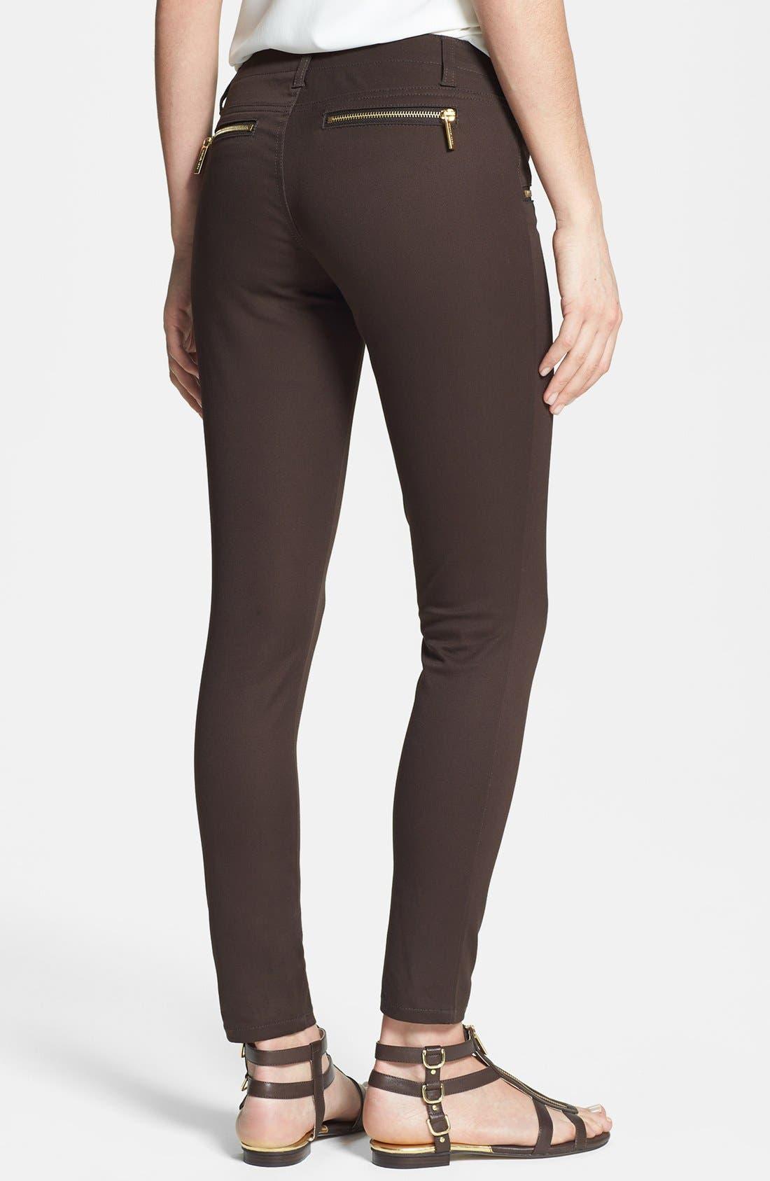 Zip Pocket Skinny Pants,                             Alternate thumbnail 2, color,                             Chocolate
