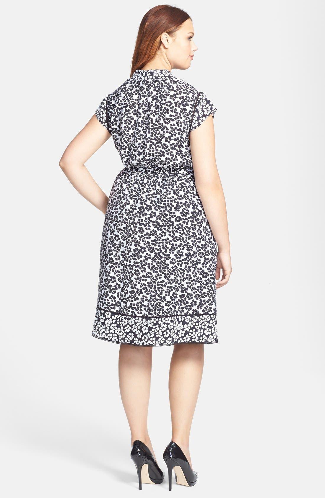 Alternate Image 2  - Adrianna Papell Floral Print Faux Wrap Dress (Plus Size)