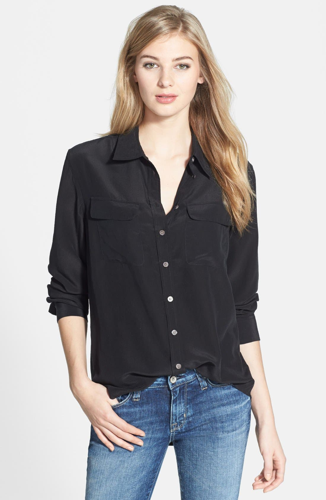Alternate Image 1 Selected - Two by Vince Camuto Silk Utility Blouse (Regular & Petite)