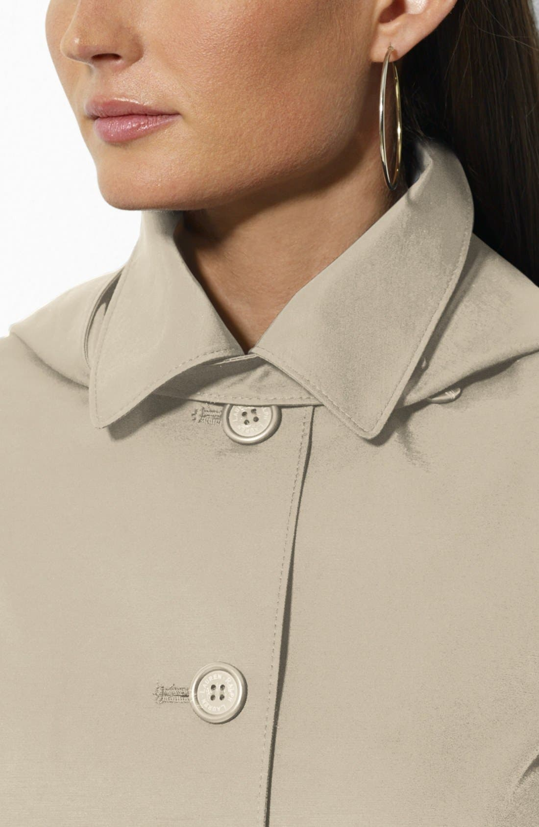 Alternate Image 3  - Lauren Ralph Lauren Bonded Cotton A-Line Jacket with Detachable Hood