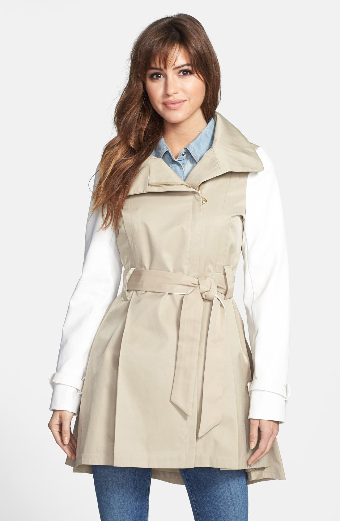 Main Image - Steve Madden Two-Tone Asymmetrical High-Low Trench Coat