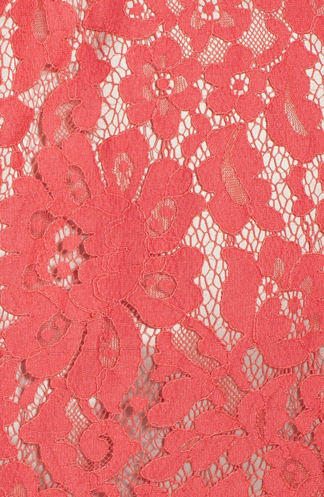 Alternate Image 4  - Eliza J Lace Peplum Sheath Dress (Regular & Petite)