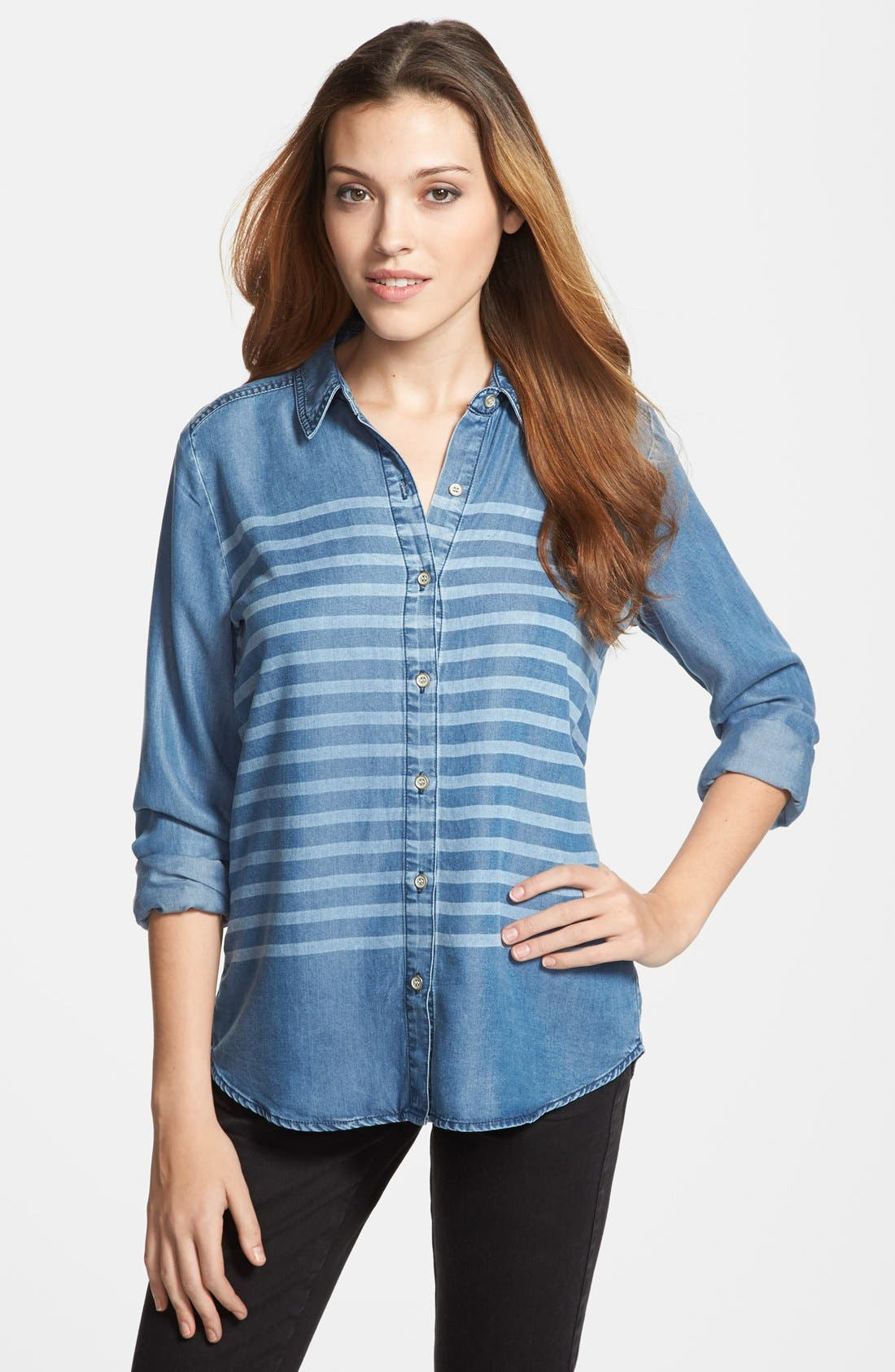 Alternate Image 1 Selected - Halogen® Stripe Chambray Shirt