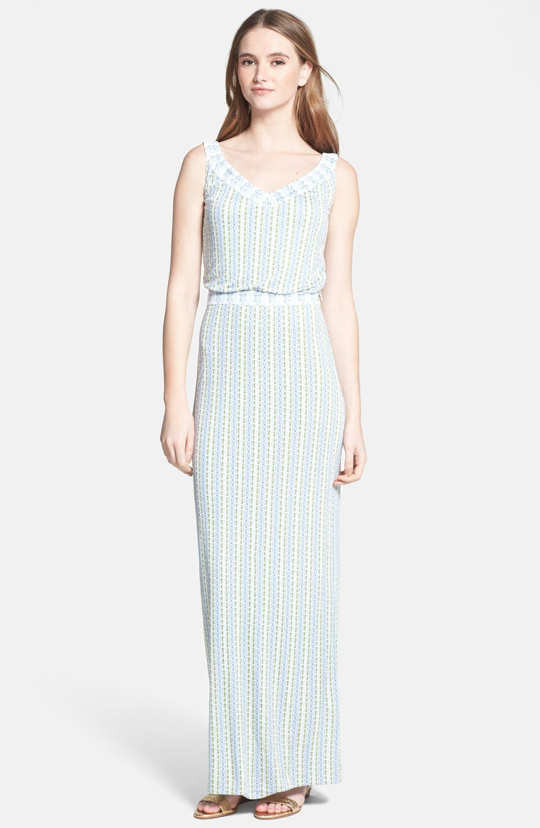 Main Image - Tory Burch 'Micky' Silk Blouson Maxi Dress