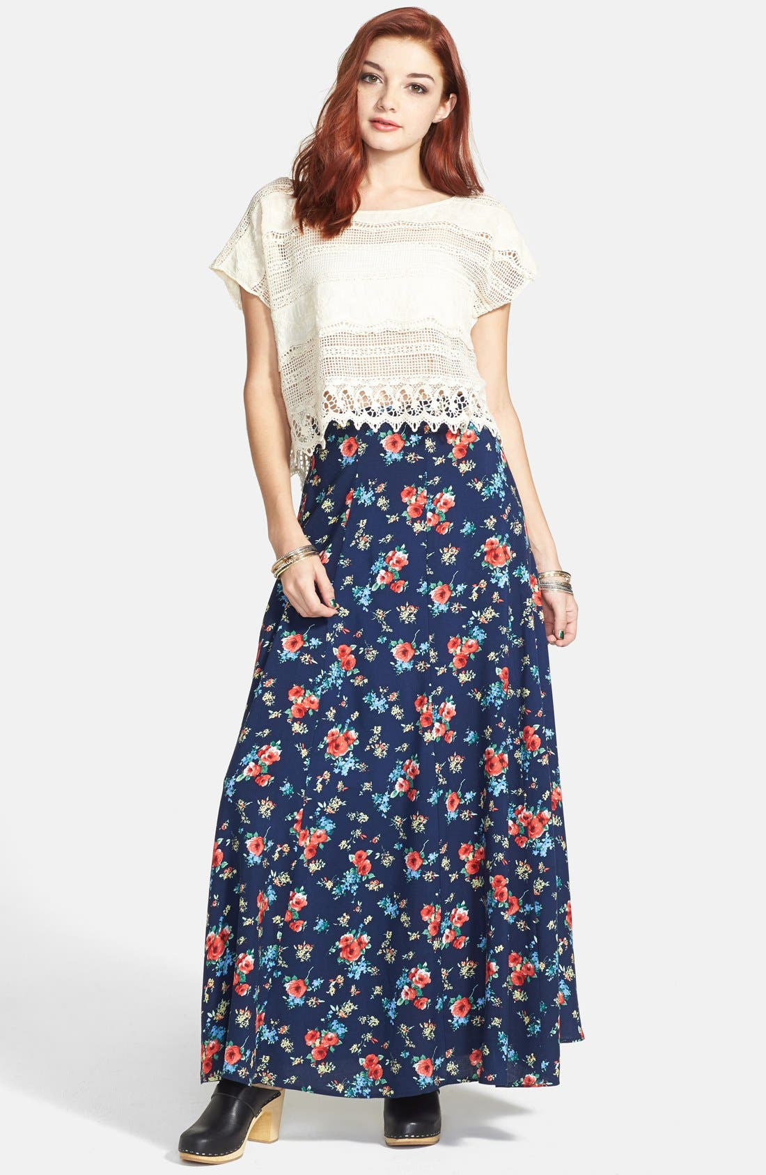Alternate Image 1 Selected - Lily White Floral Print Full Maxi Skirt (Juniors) (Online Only)