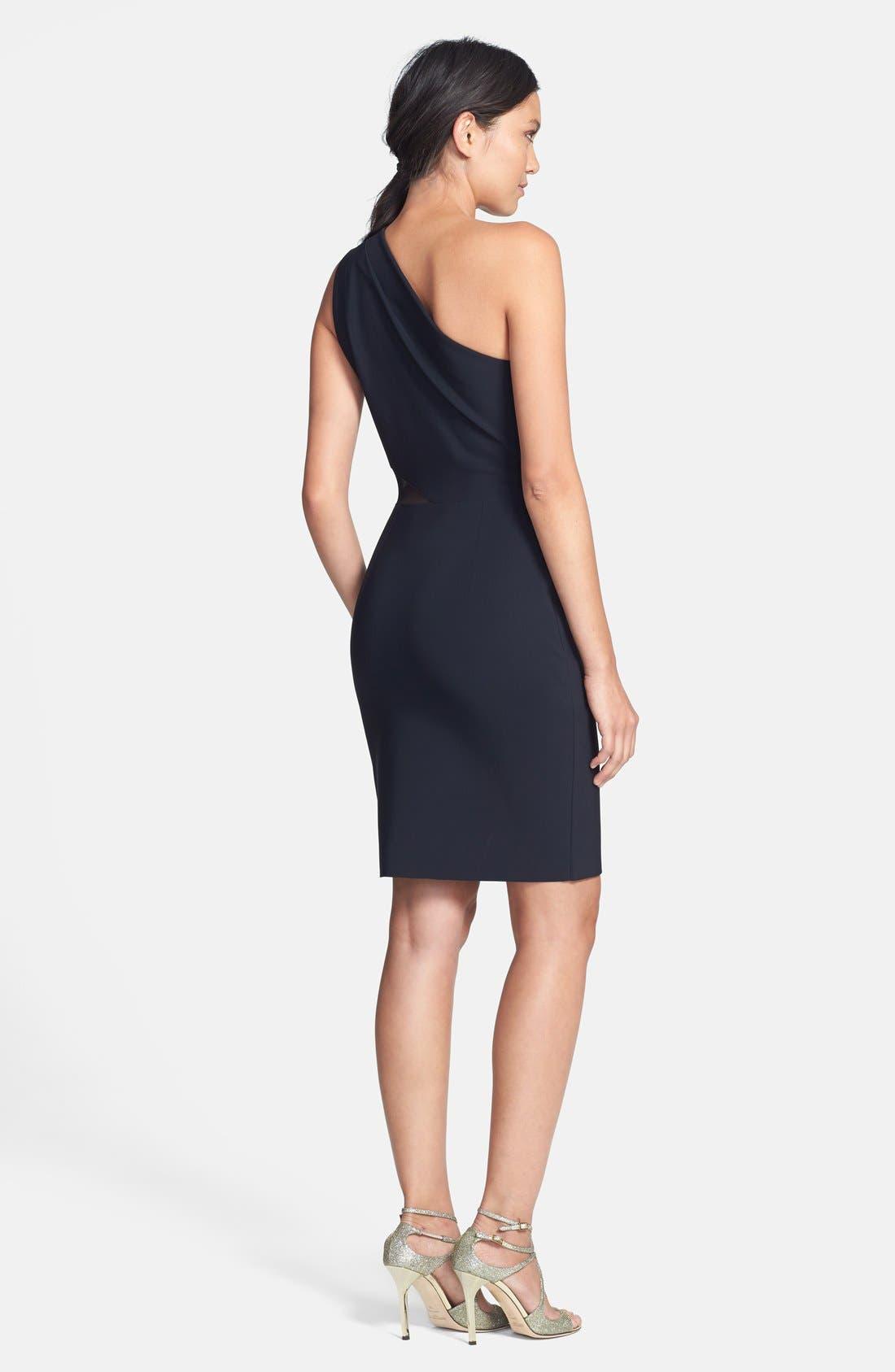 Alternate Image 2  - Halston Heritage Mesh Inset One-Shoulder Sheath Dress