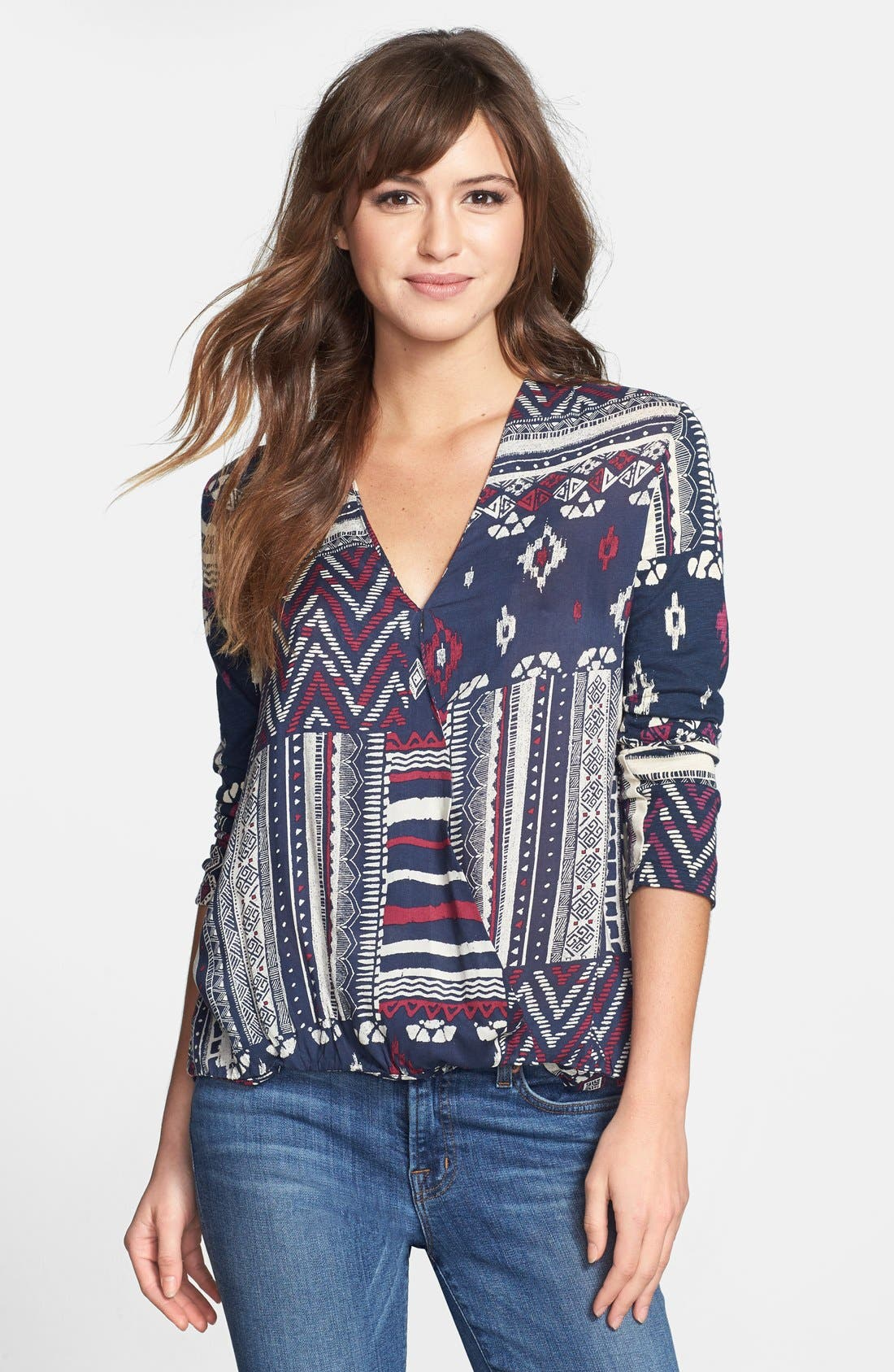 Alternate Image 1 Selected - Lucky Brand Patchwork Print Top