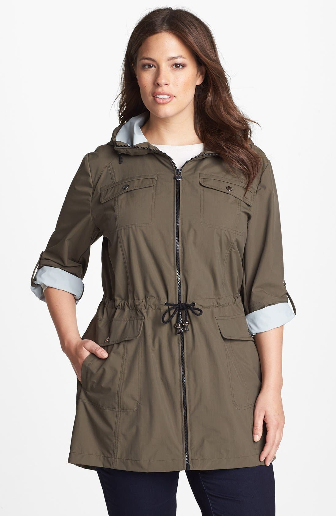 Alternate Image 1 Selected - Laundry by Shelli Segal 'Drip Dry' Roll Sleeve Anorak