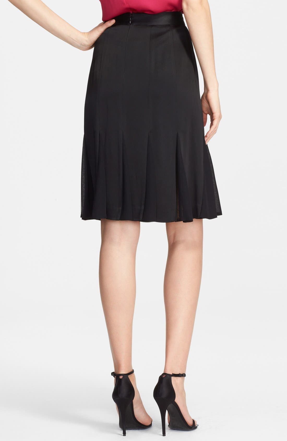 Alternate Image 2  - St. John Collection Liquid Crepe & Chiffon Skirt