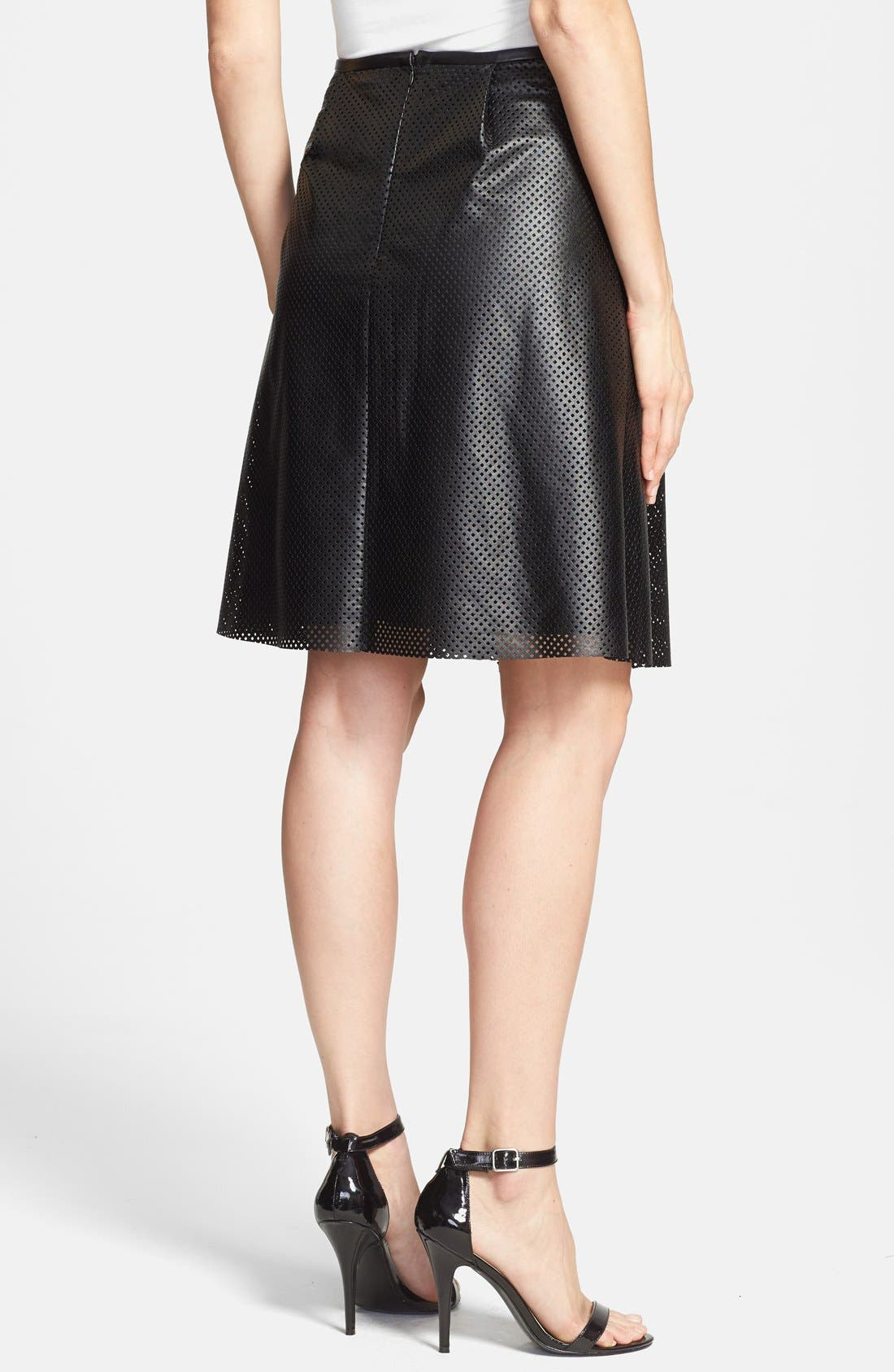 Alternate Image 2  - Calvin Klein Perforated Faux Leather Skirt