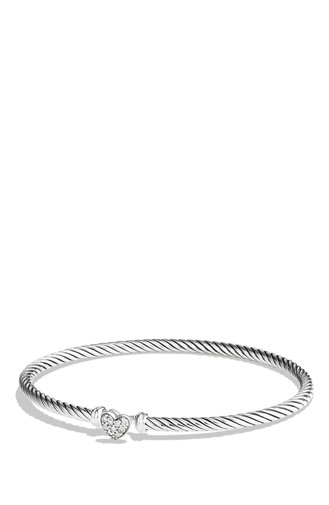 'Cable Collectibles' Diamond Heart Station Bracelet,                             Main thumbnail 1, color,                             Diamond
