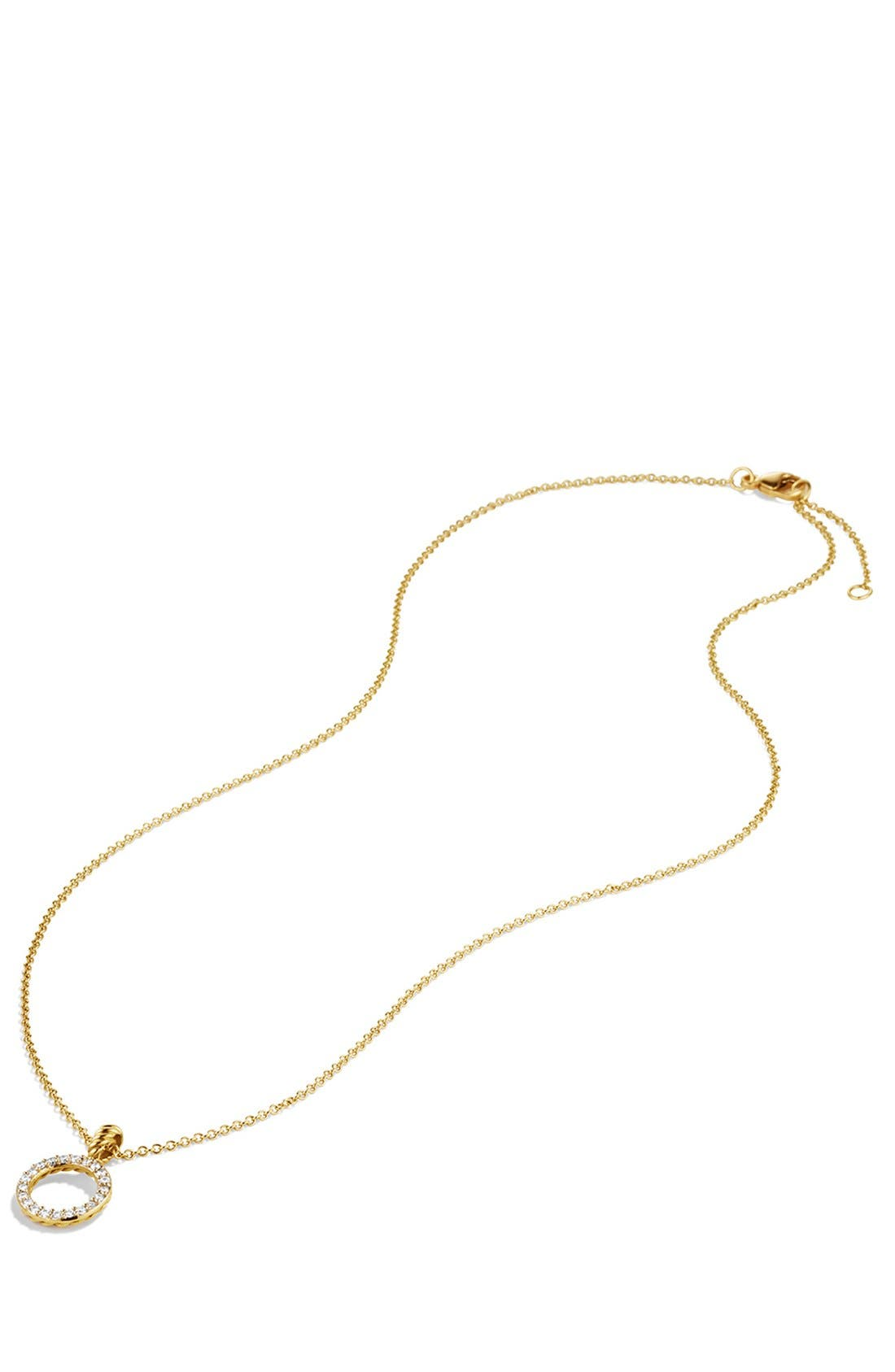 Alternate Image 3  - David Yurman 'Cable Collectibles' Circle Pendant with Diamonds in Gold on Chain