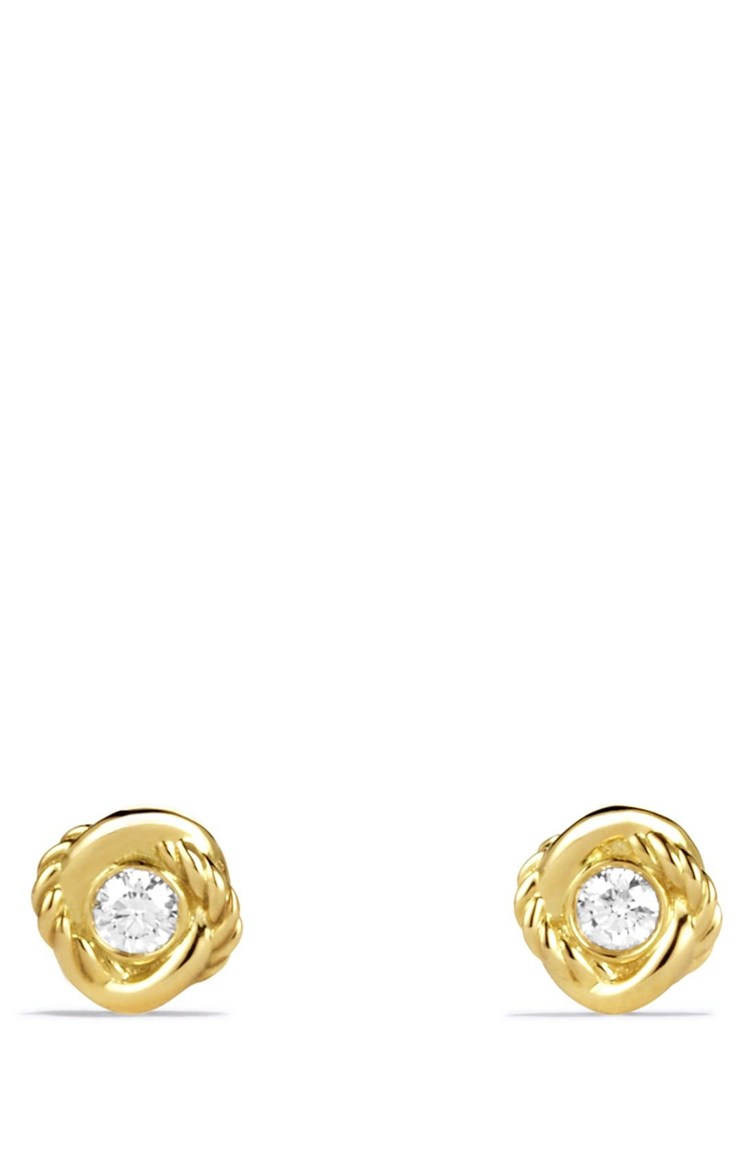 'Infinity' Earrings with Diamonds in Gold,                             Alternate thumbnail 2, color,                             Diamond