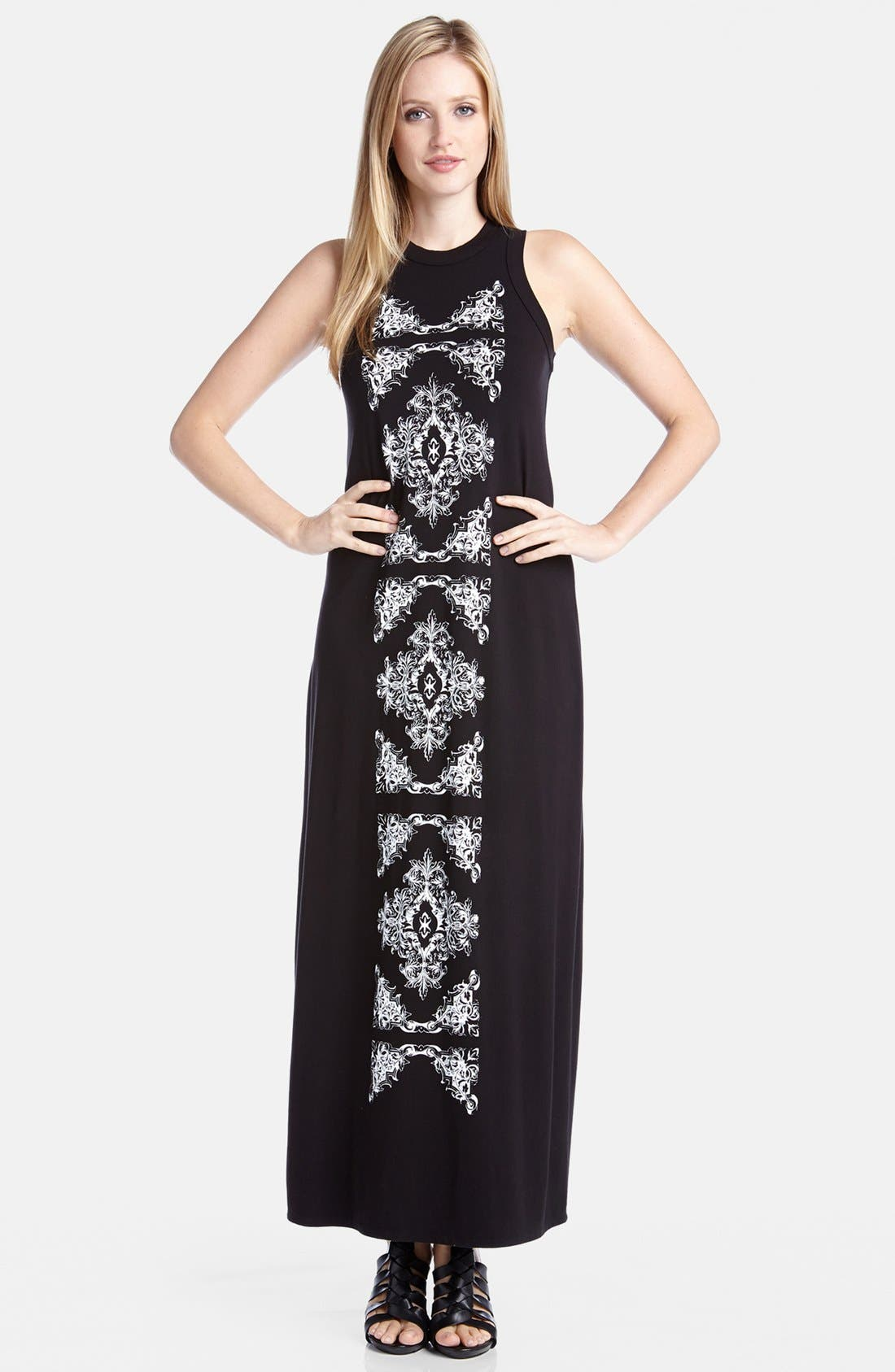 Main Image - Karen Kane Print Panel High Neck Jersey Maxi Dress