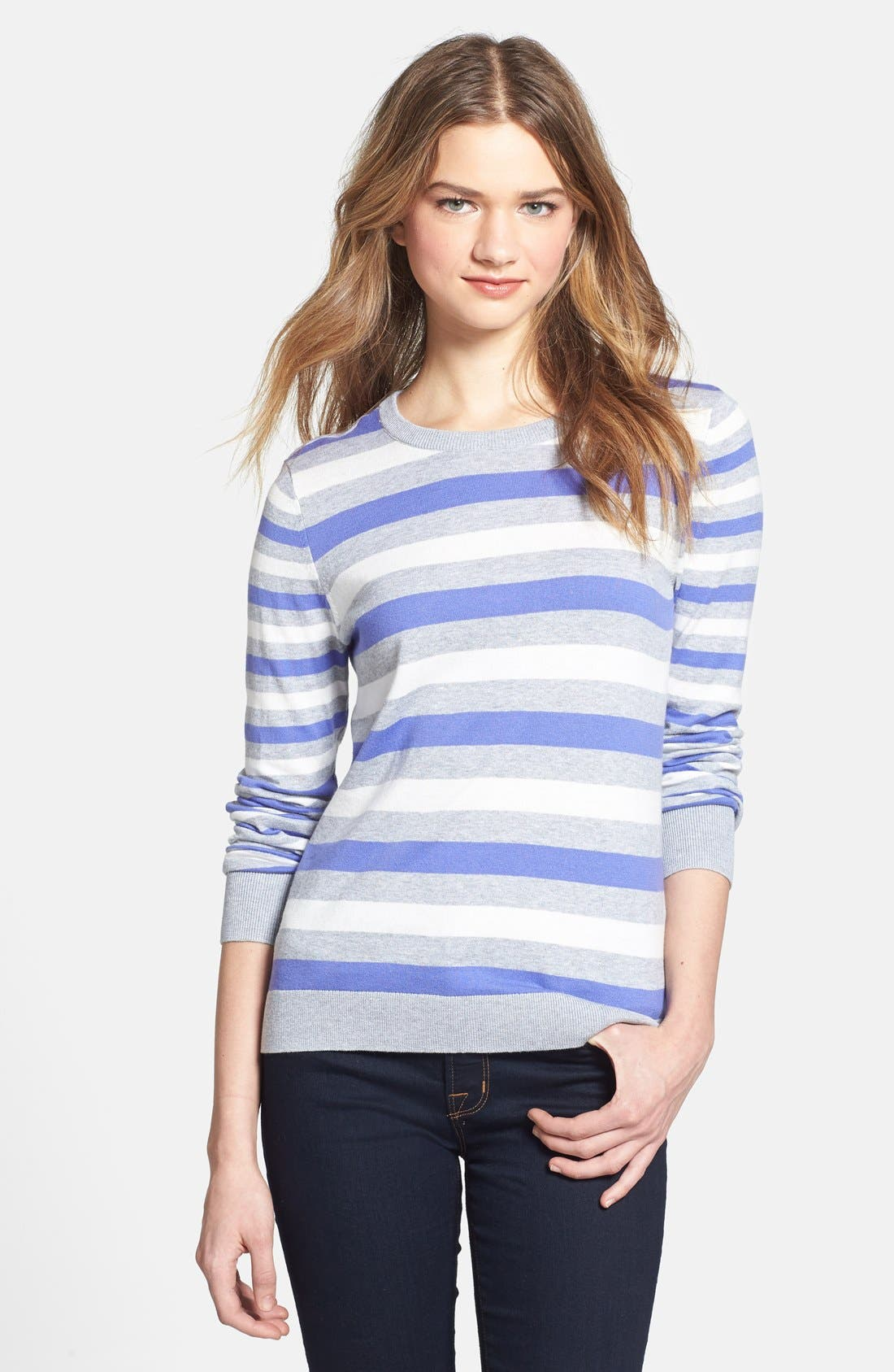 Alternate Image 1 Selected - Vince Camuto Stripe Crewneck Sweater (Petite)