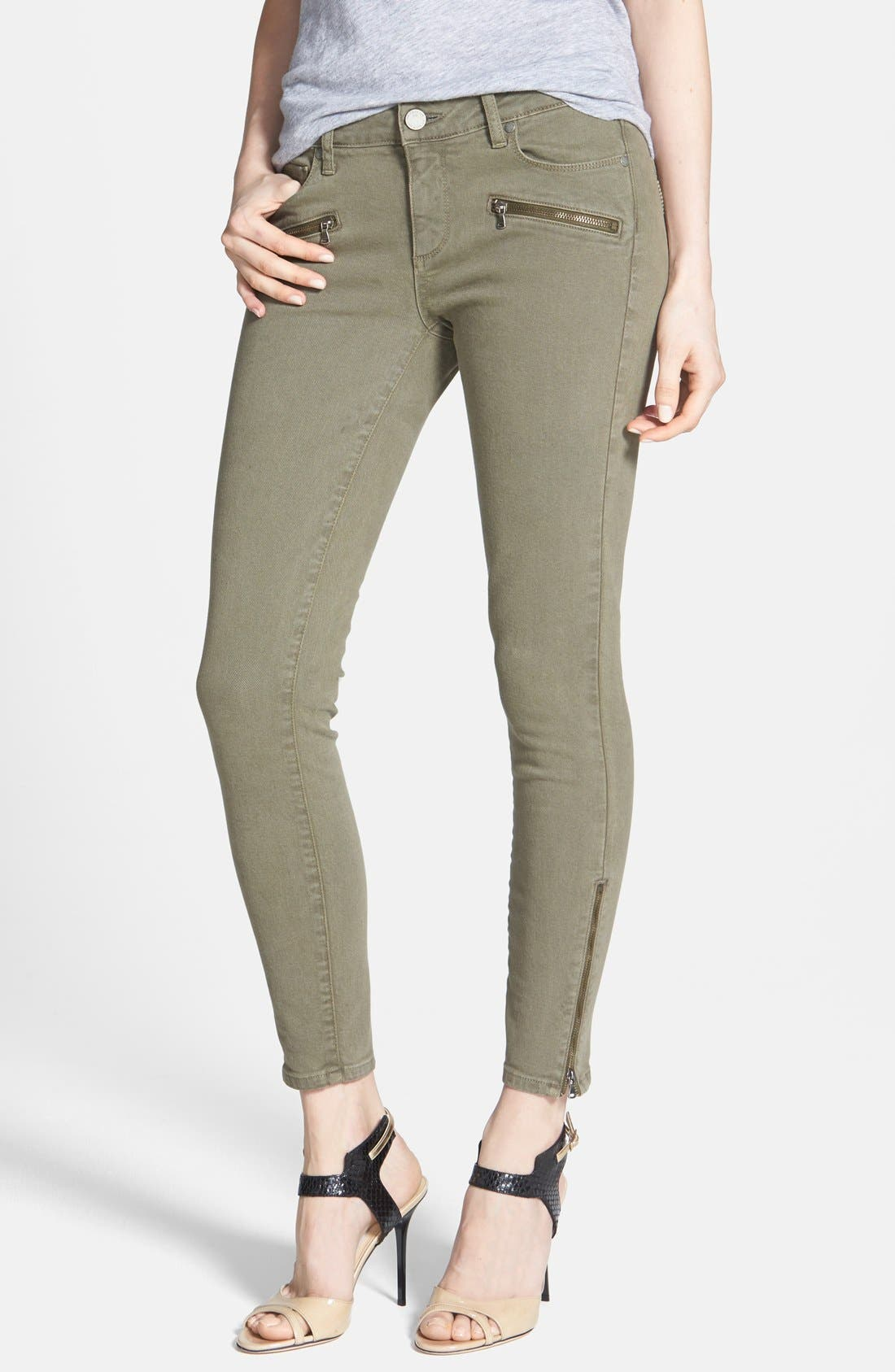 Alternate Image 1 Selected - Paige Denim 'Jane' Zip Detail Ultra Skinny Ankle Jeans (Fatigue Green)