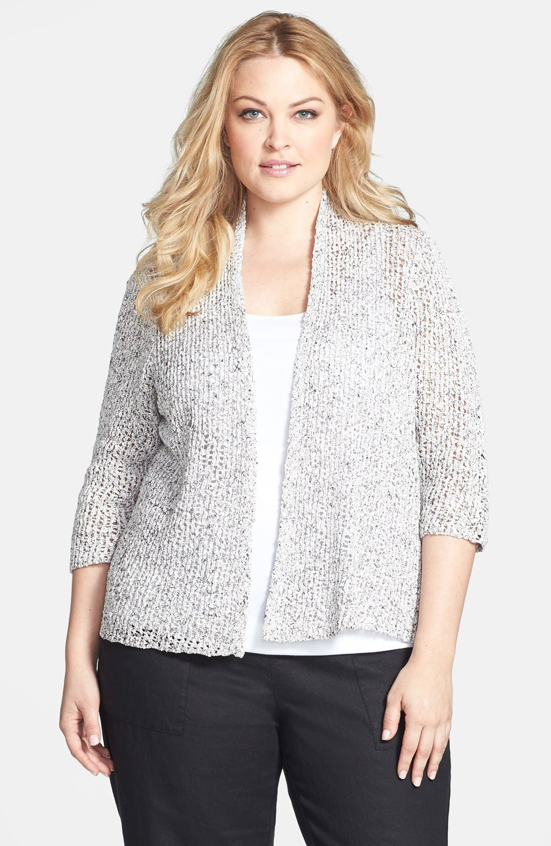 Alternate Image 1 Selected - Eileen Fisher Open Weave Cardigan (Plus Size)