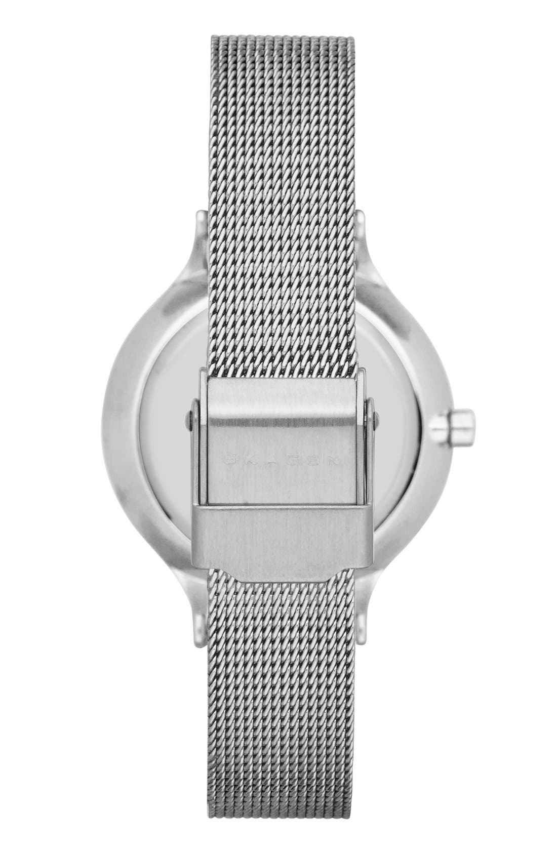 'Anita' Crystal Index Mesh Strap Watch, 30mm,                             Alternate thumbnail 2, color,                             Silver