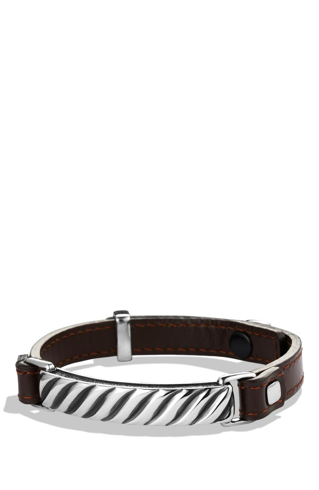 Modern Cable ID Bracelet,                             Main thumbnail 1, color,                             Brown