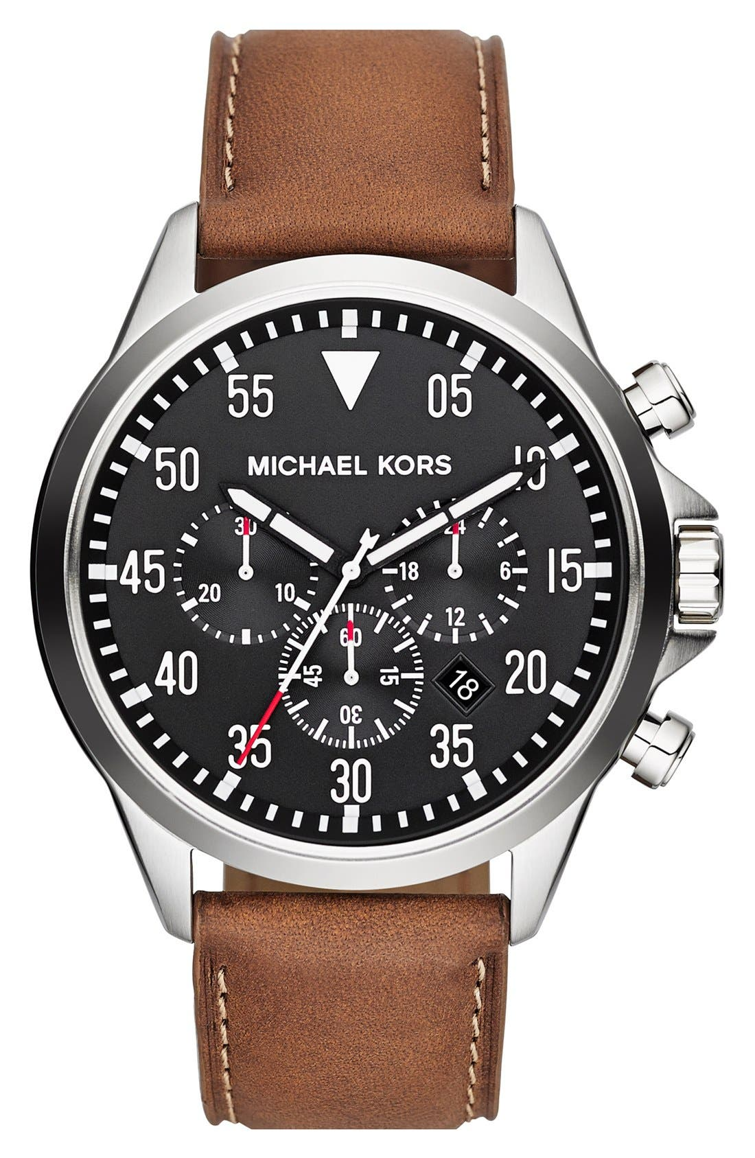 Alternate Image 1 Selected - Michael Kors 'Gage' Chronograph Leather Strap Watch, 45mm