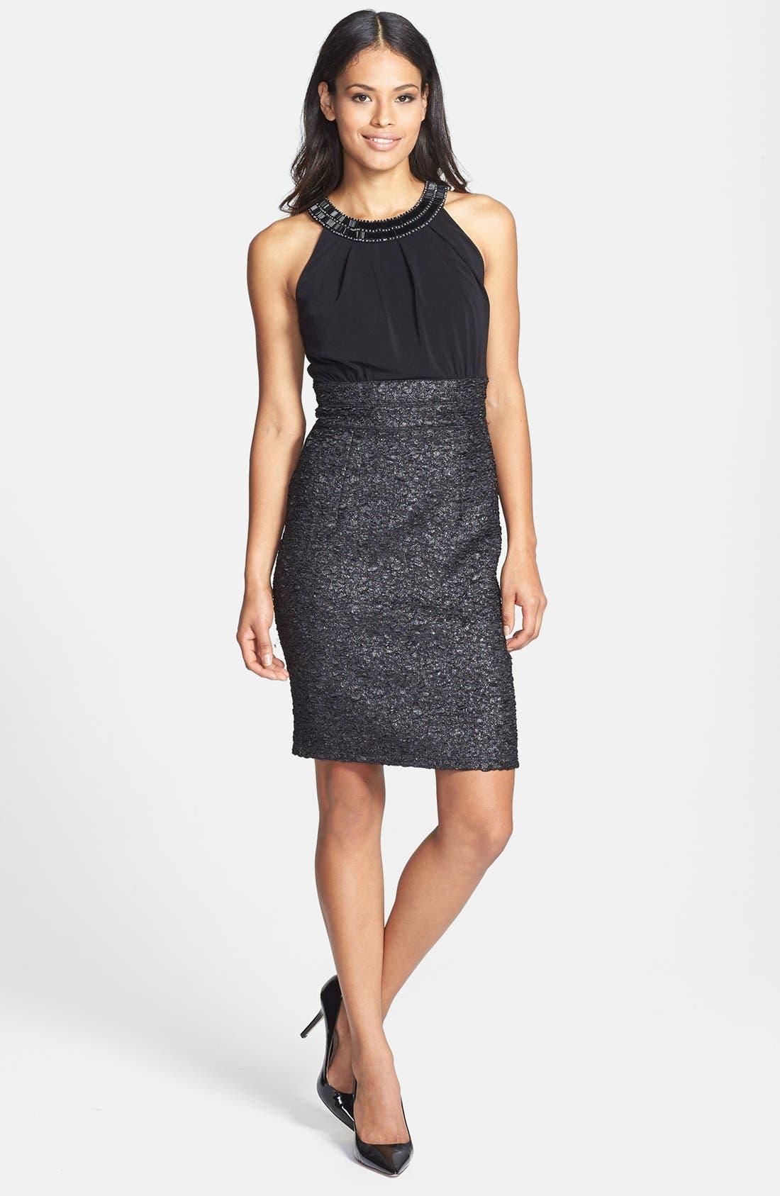 Main Image - Donna Ricco Beaded Neck Sleeveless Mixed Media Dress (Petite)