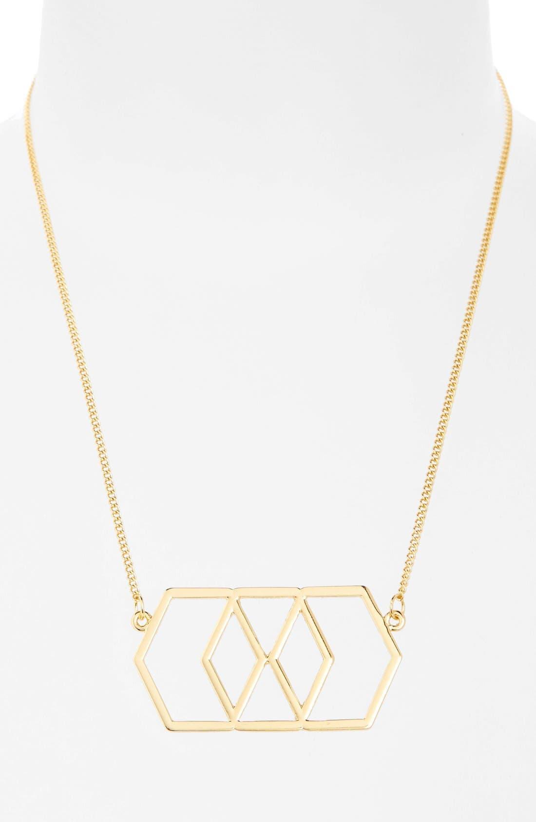 Main Image - Topshop Cutout Hexagon Pendant Necklace