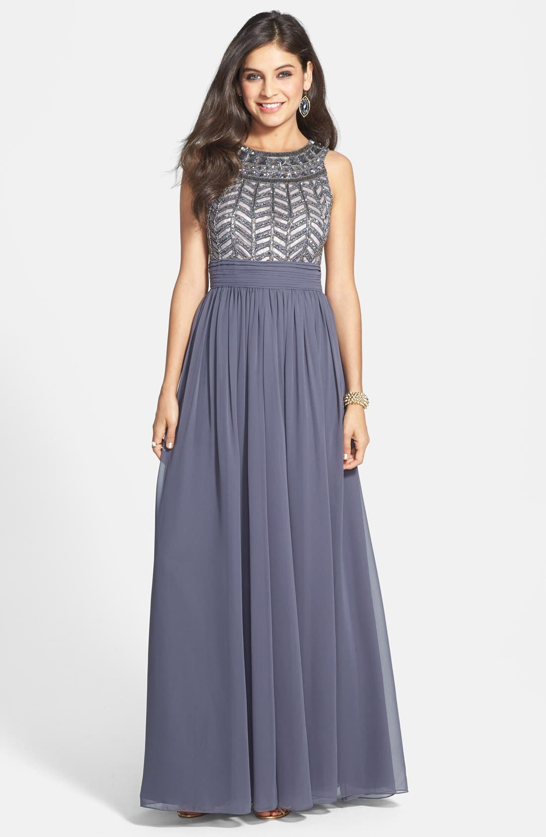 Alternate Image 1 Selected - JS Collections Embellished Chiffon Gown