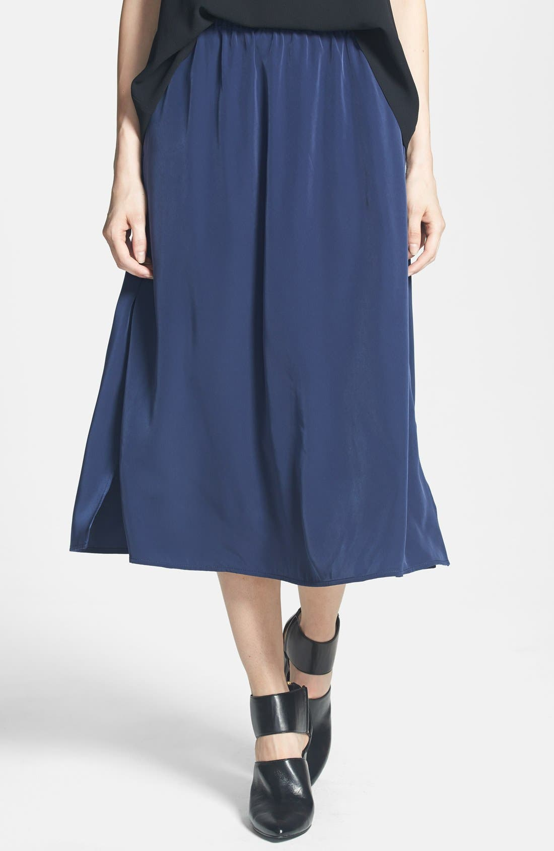 Side Slit Woven Midi Skirt,                             Main thumbnail 1, color,                             Navy Peacoat
