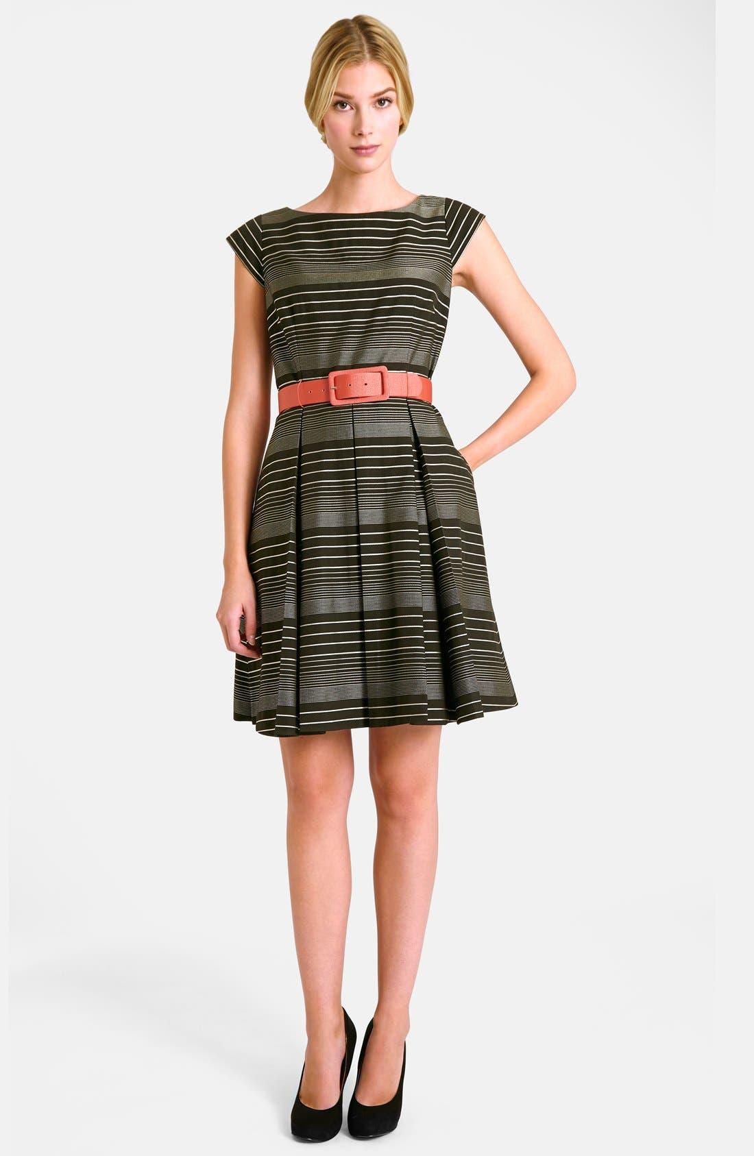 Alternate Image 2  - Tahari Belted Stripe Fit & Flare Dress (Regular & Petite)