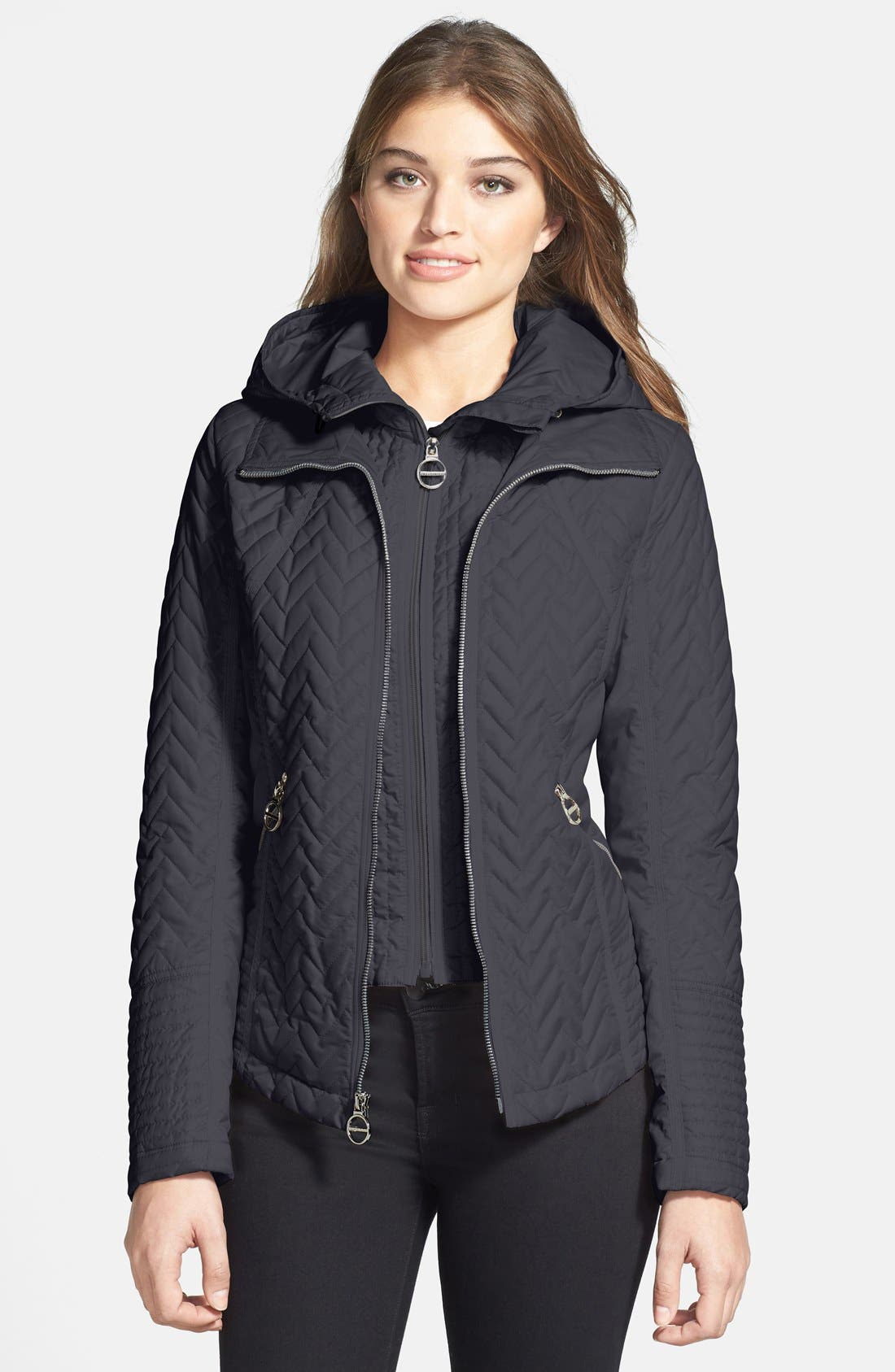 Main Image - Laundry by Shelli Segal Quilted Jacket with Removable Hooded Vestie