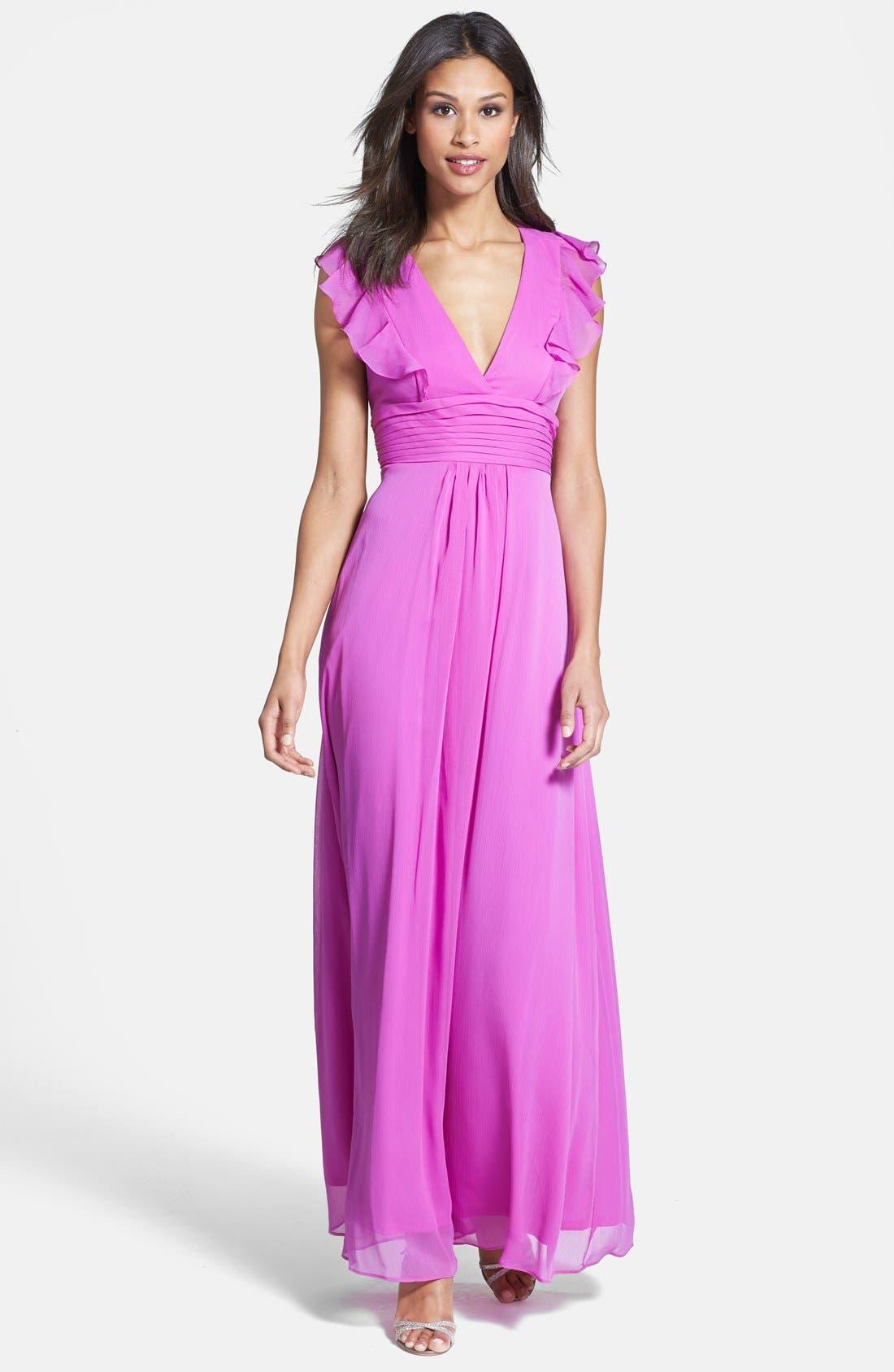 Main Image - Jessica Simpson Ruffled Open Back Chiffon Maxi Dress