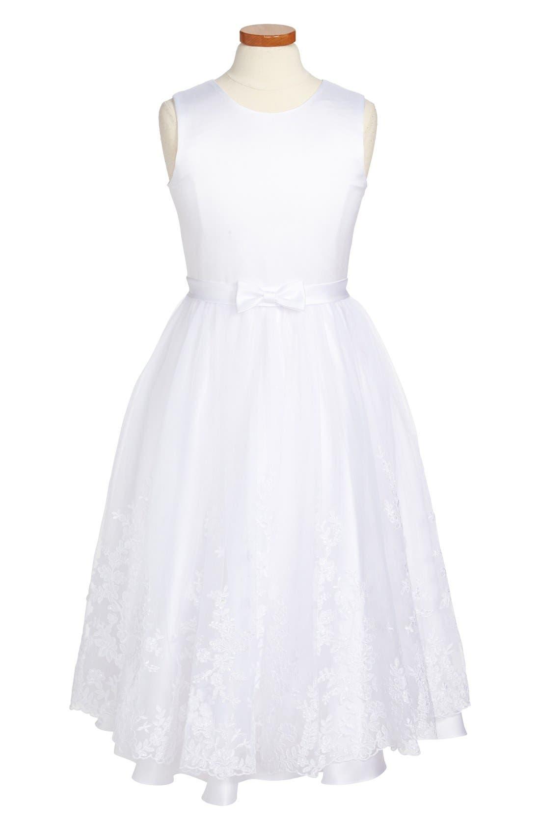 Alternate Image 1 Selected - Joan Calabrese for Mon Cheri First Communion Dress (Big Girls)