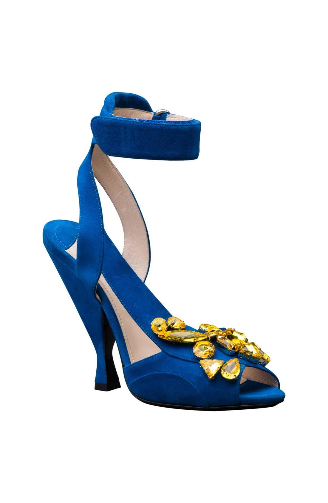 Alternate Image 1 Selected - Prada Jeweled Ankle Strap Sandal