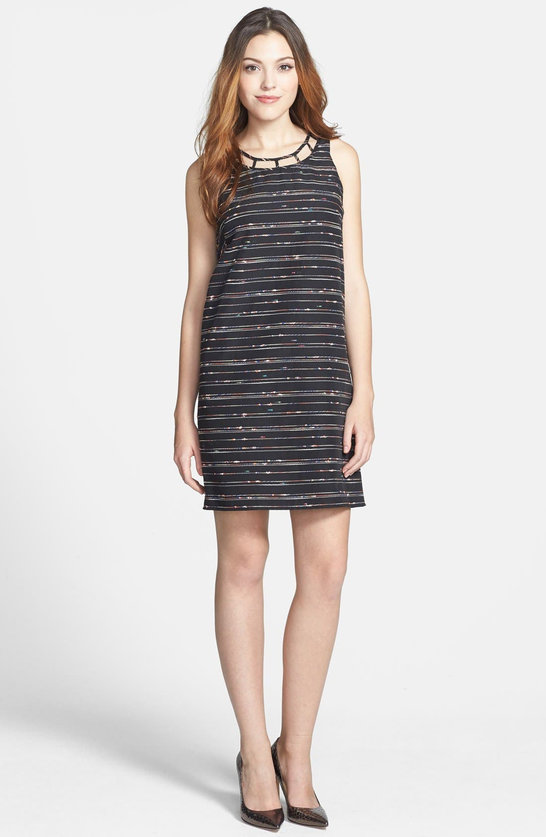 Alternate Image 3  - Vince Camuto Caged Neck Woven Shift Dress