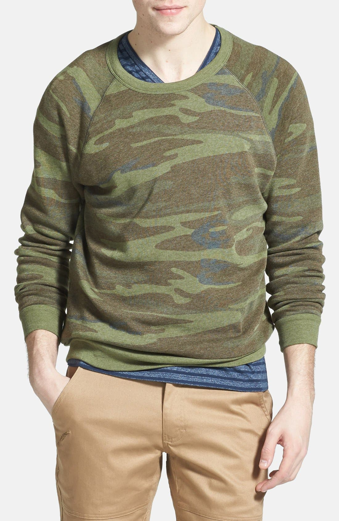 Alternate Image 1 Selected - Alternative 'The Champ' Camo Print Crewneck Sweatshirt