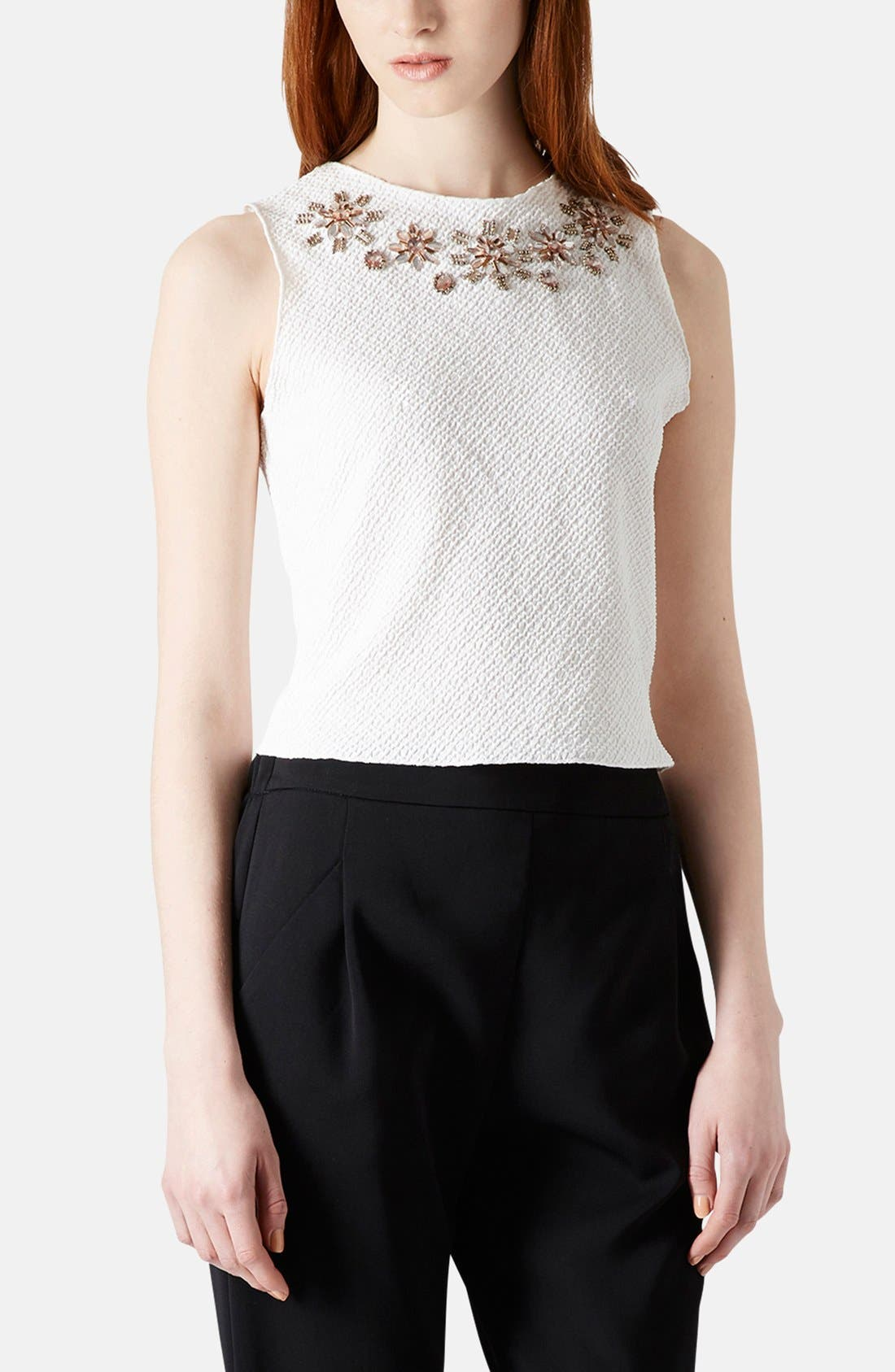 Main Image - Topshop Embellished Textured Jersey Shell (Petite)